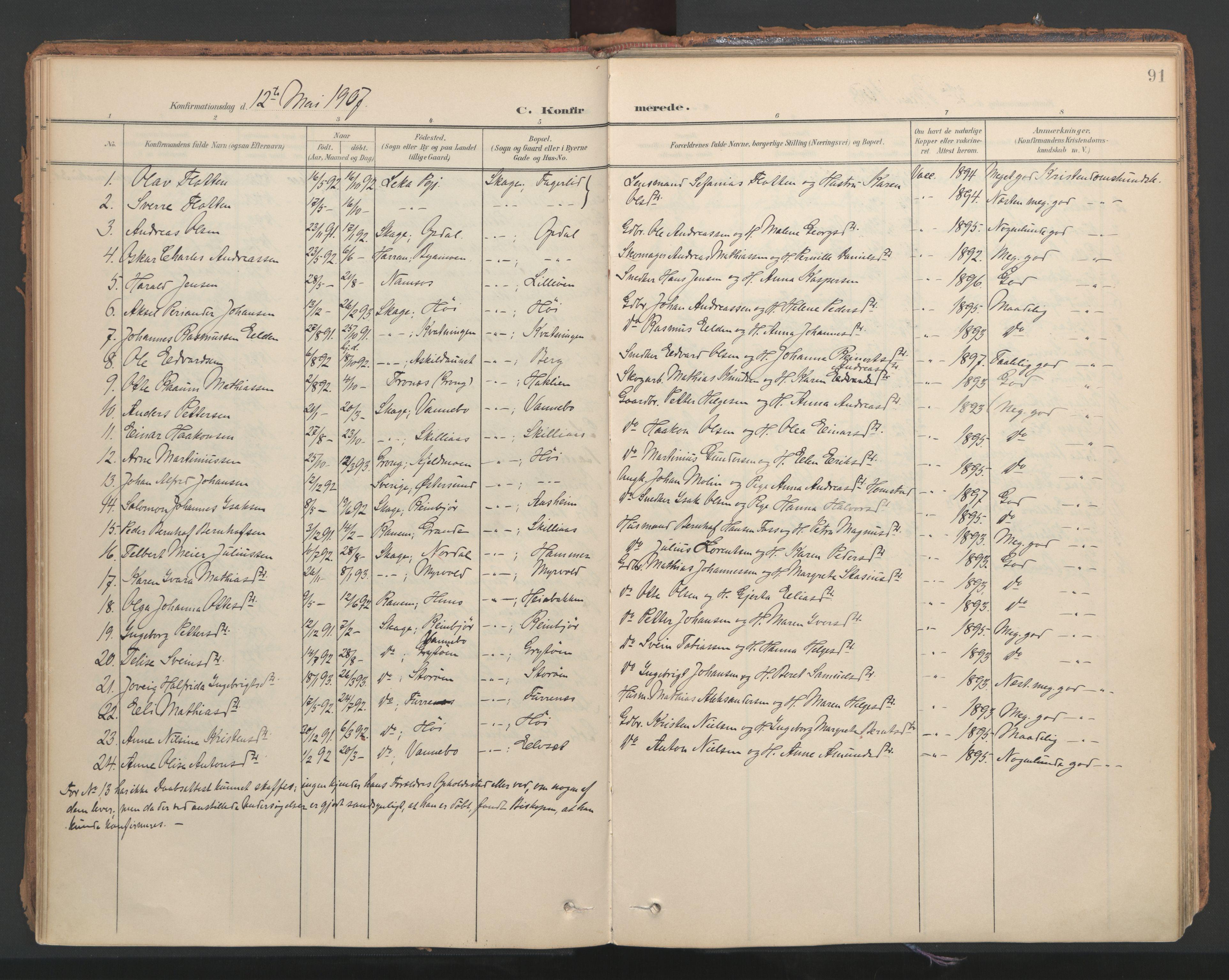 SAT, Ministerialprotokoller, klokkerbøker og fødselsregistre - Nord-Trøndelag, 766/L0564: Ministerialbok nr. 767A02, 1900-1932, s. 91