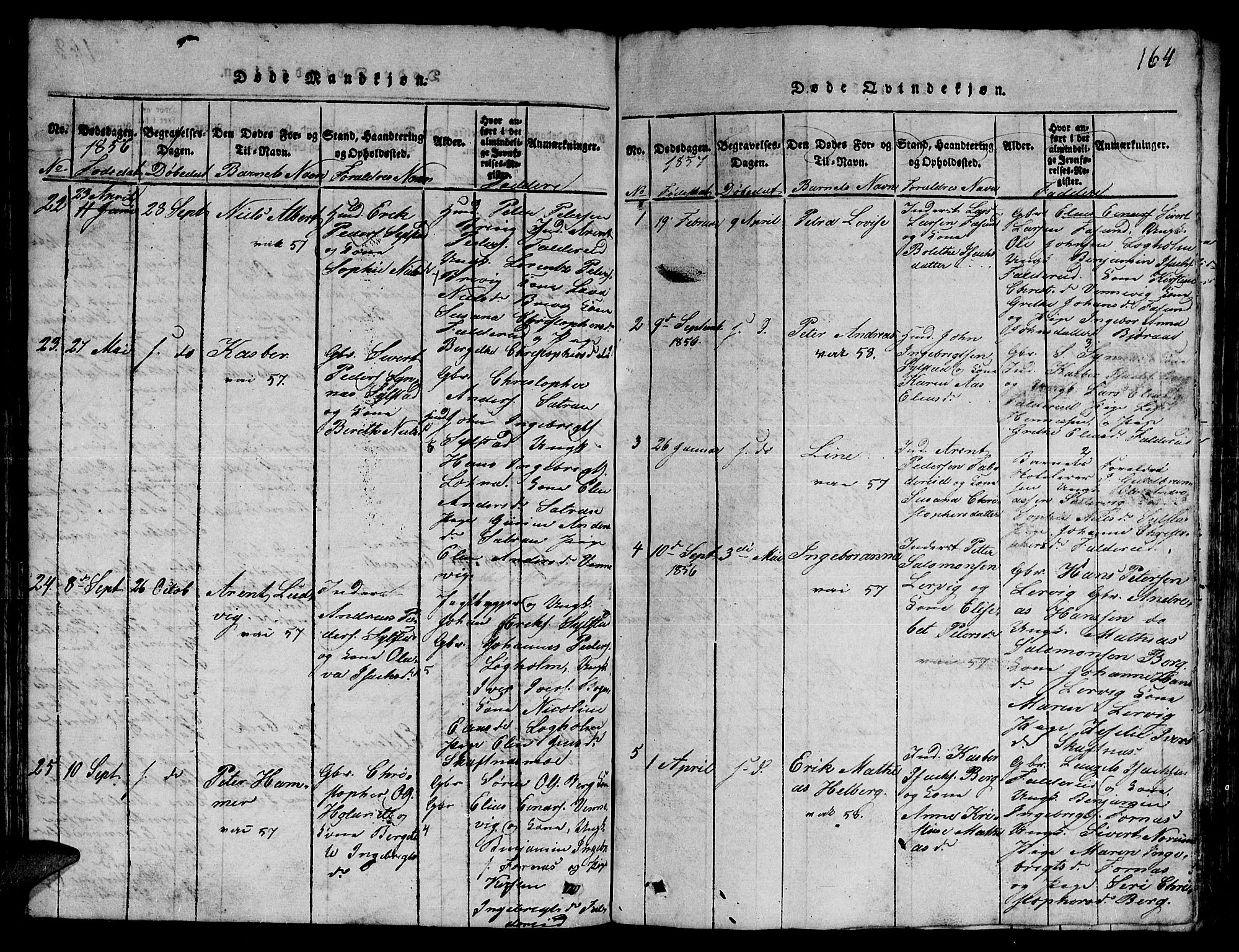 SAT, Ministerialprotokoller, klokkerbøker og fødselsregistre - Nord-Trøndelag, 780/L0648: Klokkerbok nr. 780C01 /3, 1815-1877, s. 164