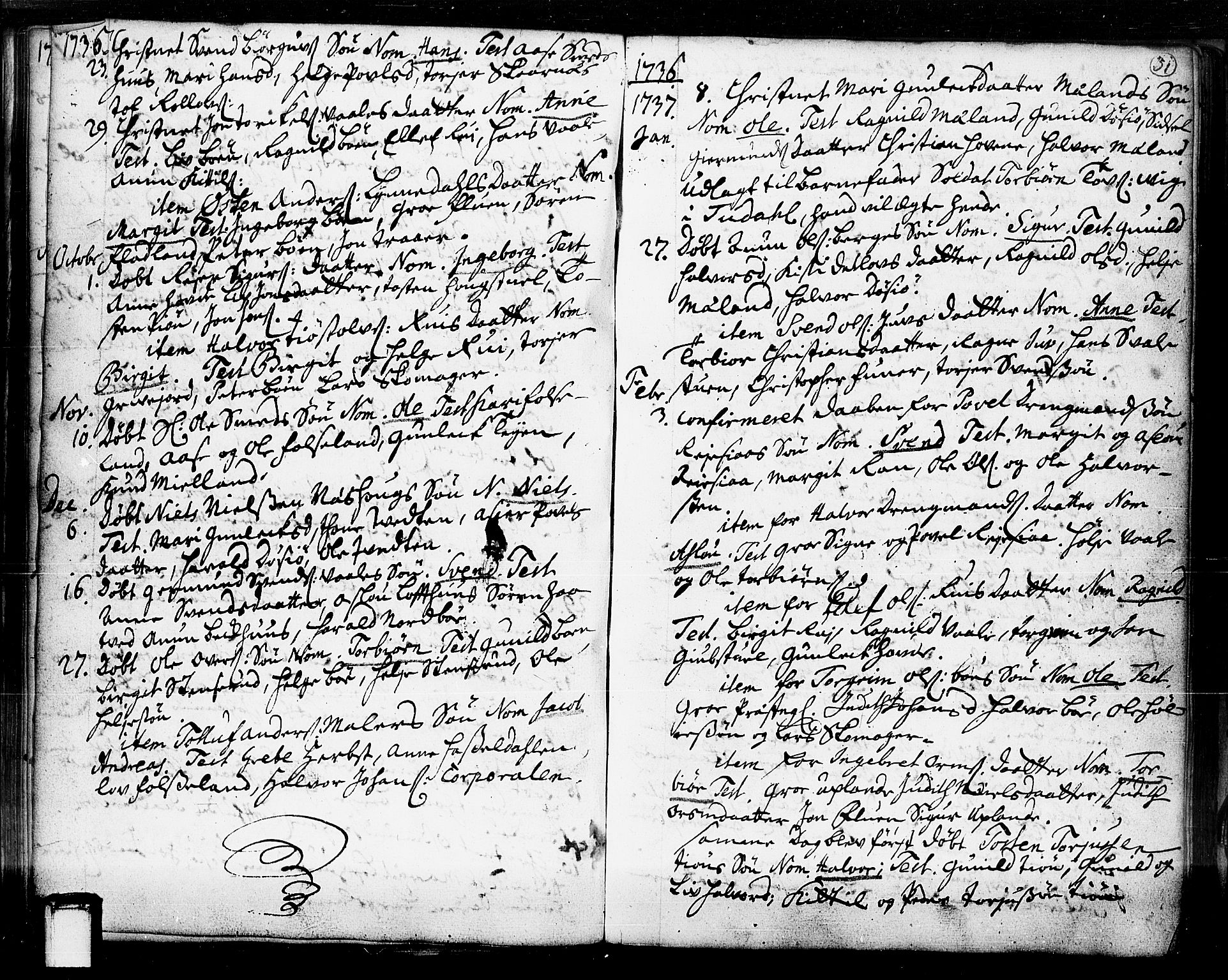 SAKO, Hjartdal kirkebøker, F/Fa/L0003: Ministerialbok nr. I 3, 1727-1775, s. 31
