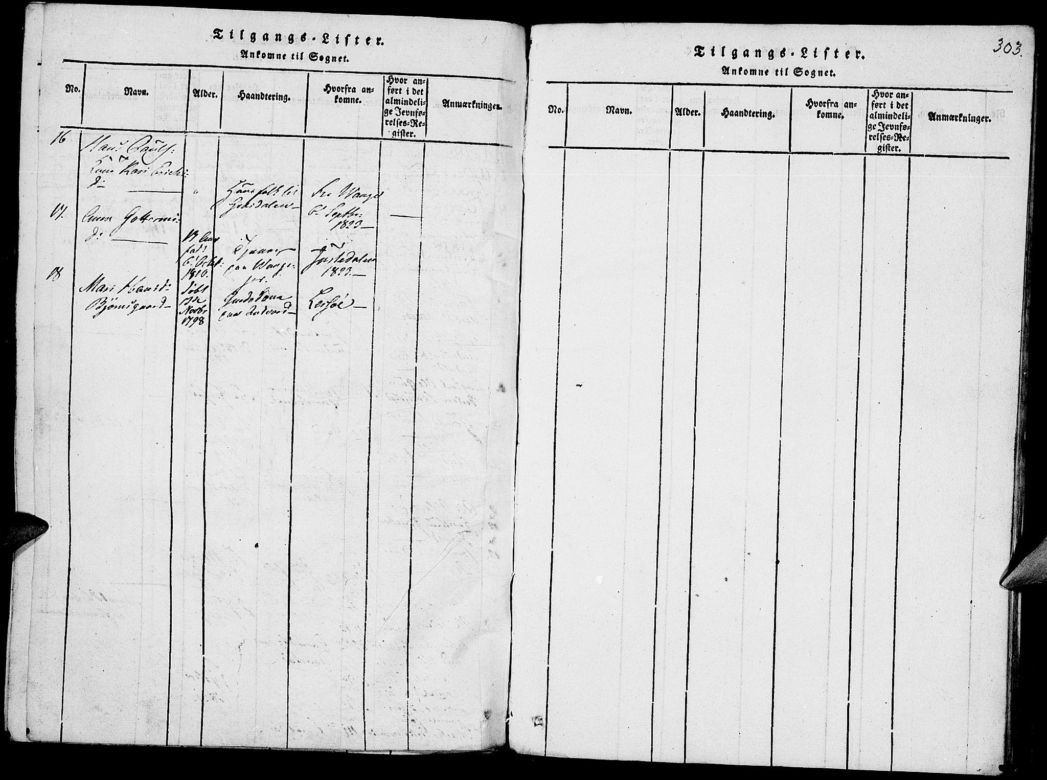 SAH, Lom prestekontor, K/L0004: Ministerialbok nr. 4, 1815-1825, s. 303