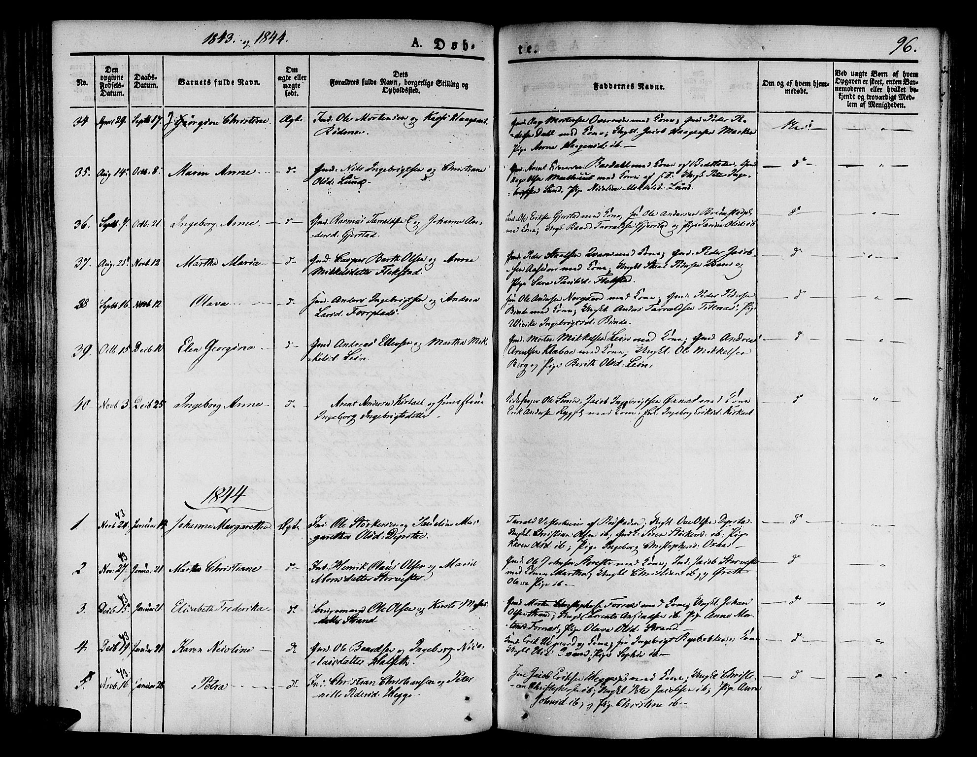 SAT, Ministerialprotokoller, klokkerbøker og fødselsregistre - Nord-Trøndelag, 746/L0445: Ministerialbok nr. 746A04, 1826-1846, s. 96
