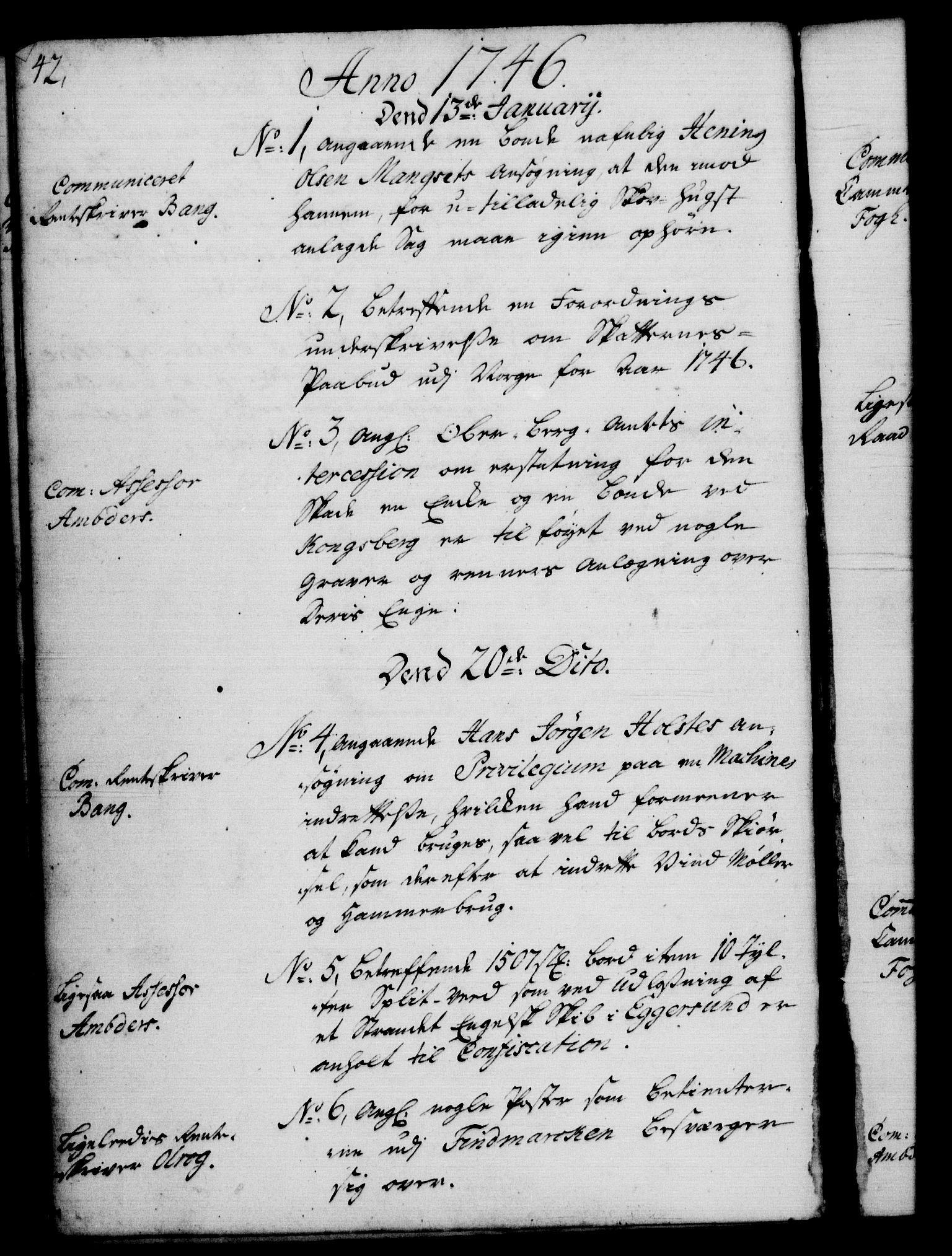 RA, Rentekammeret, Kammerkanselliet, G/Gf/Gfb/L0005: Register til norske relasjons- og resolusjonsprotokoller (merket RK 52.100), 1744-1754, s. 42