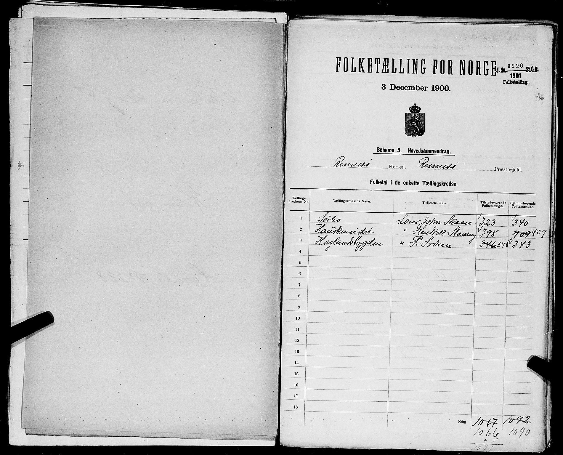 SAST, Folketelling 1900 for 1142 Rennesøy herred, 1900, s. 2
