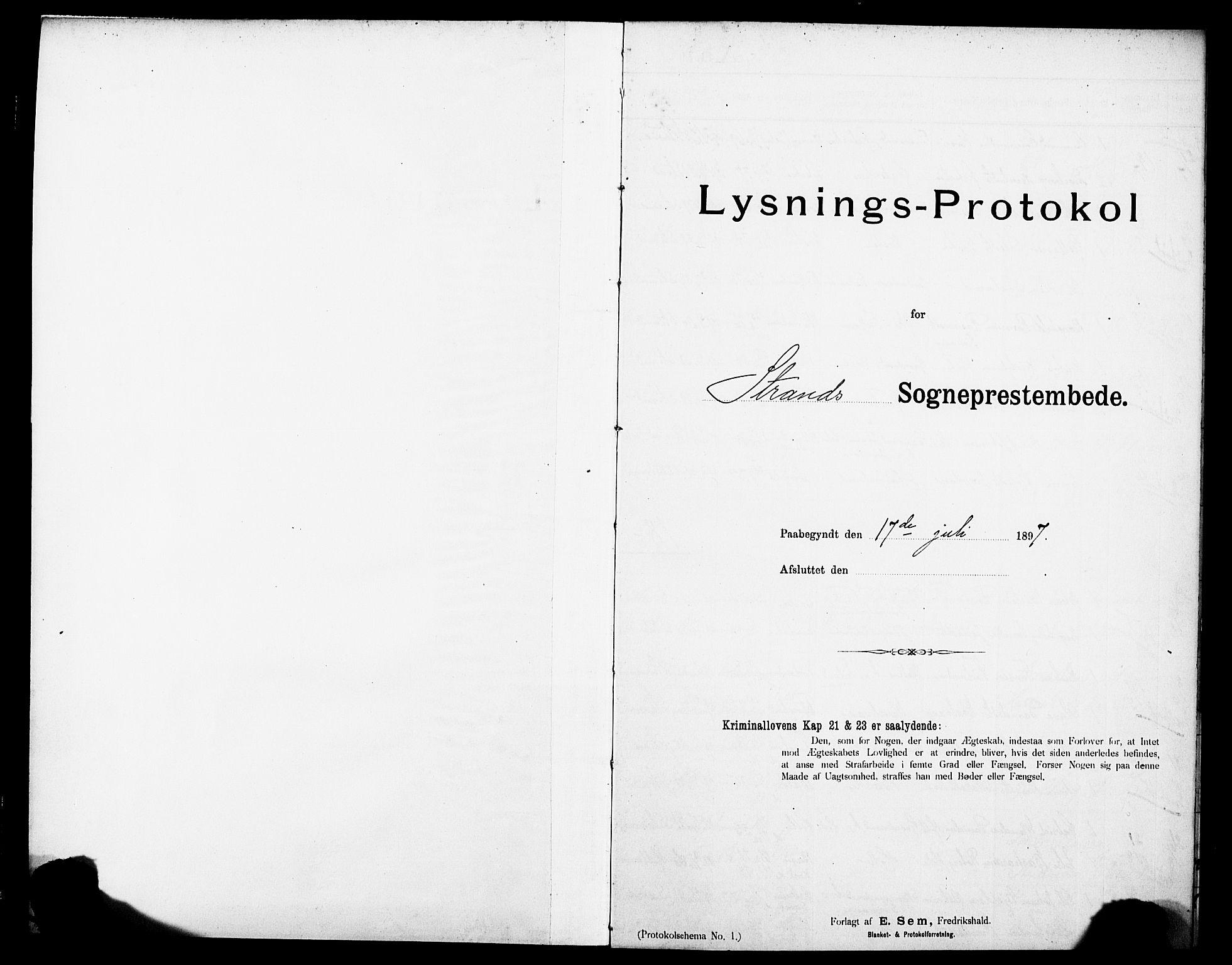 SAST, Strand sokneprestkontor, I/Ie/L0002: Lysningsprotokoll nr. 2, 1897-1920