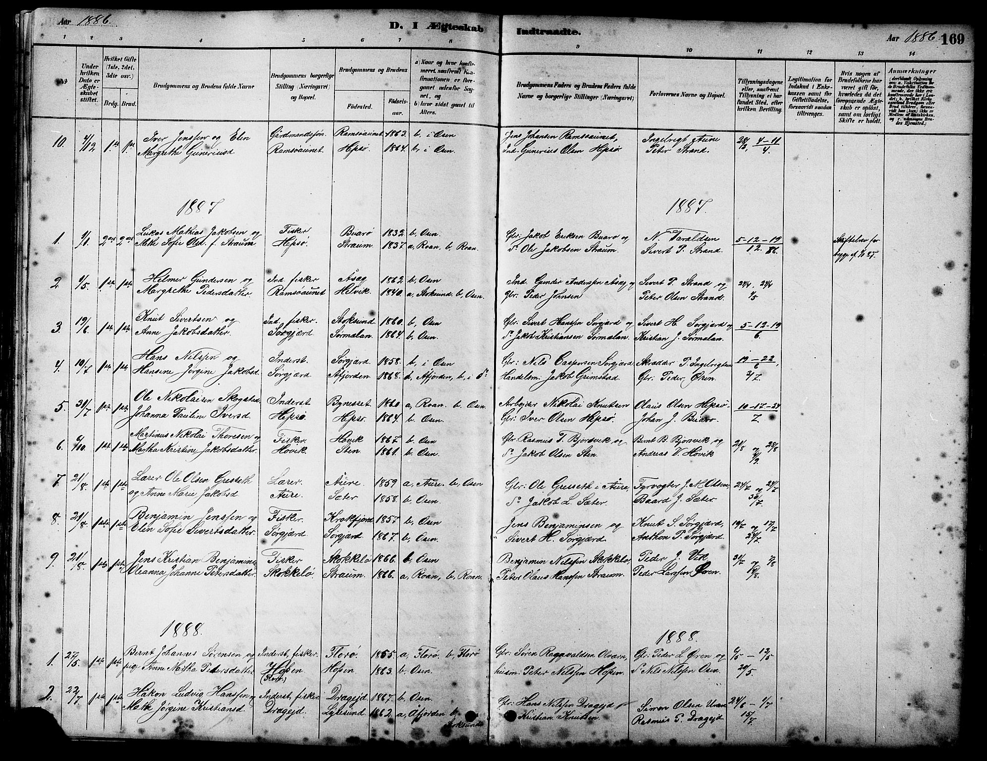 SAT, Ministerialprotokoller, klokkerbøker og fødselsregistre - Sør-Trøndelag, 658/L0726: Klokkerbok nr. 658C02, 1883-1908, s. 169