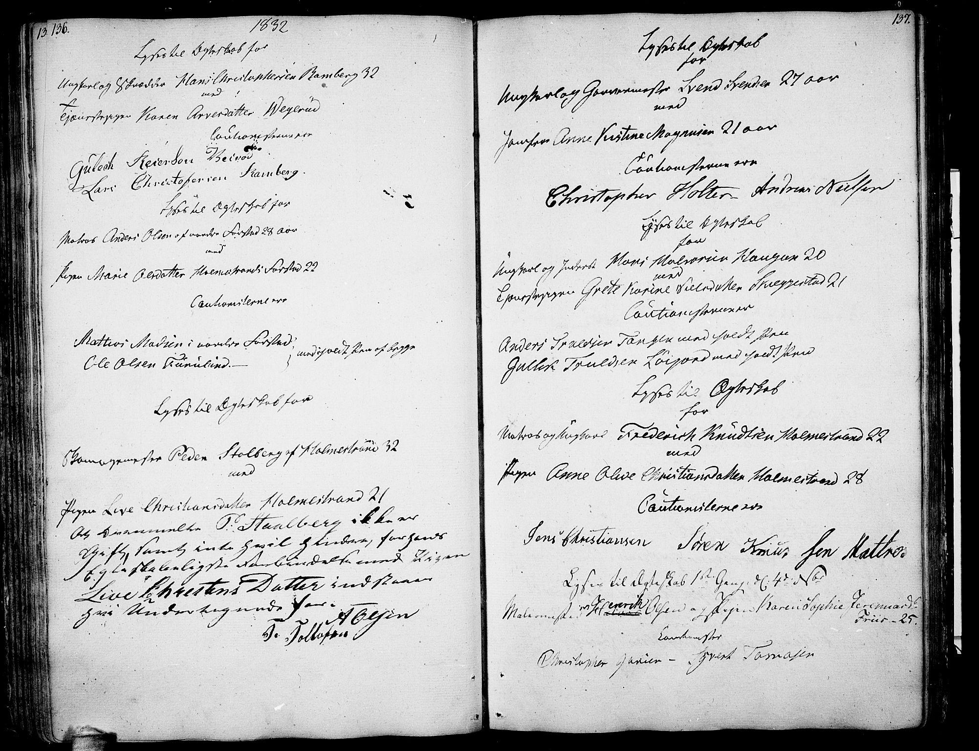 SAKO, Botne kirkebøker, F/Fa/L0003: Ministerialbok nr. I 3 /1, 1792-1844, s. 136-137