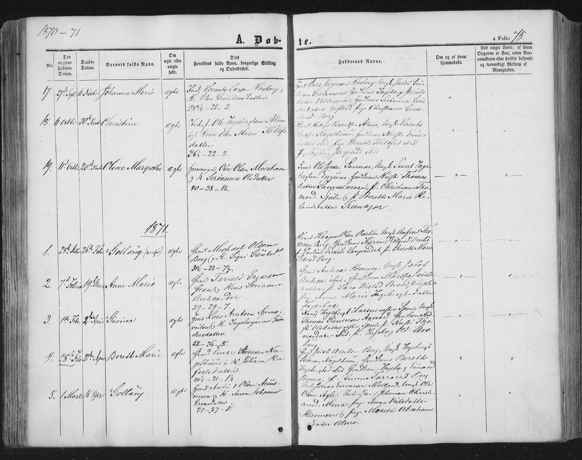 SAT, Ministerialprotokoller, klokkerbøker og fødselsregistre - Nord-Trøndelag, 749/L0472: Ministerialbok nr. 749A06, 1857-1873, s. 75