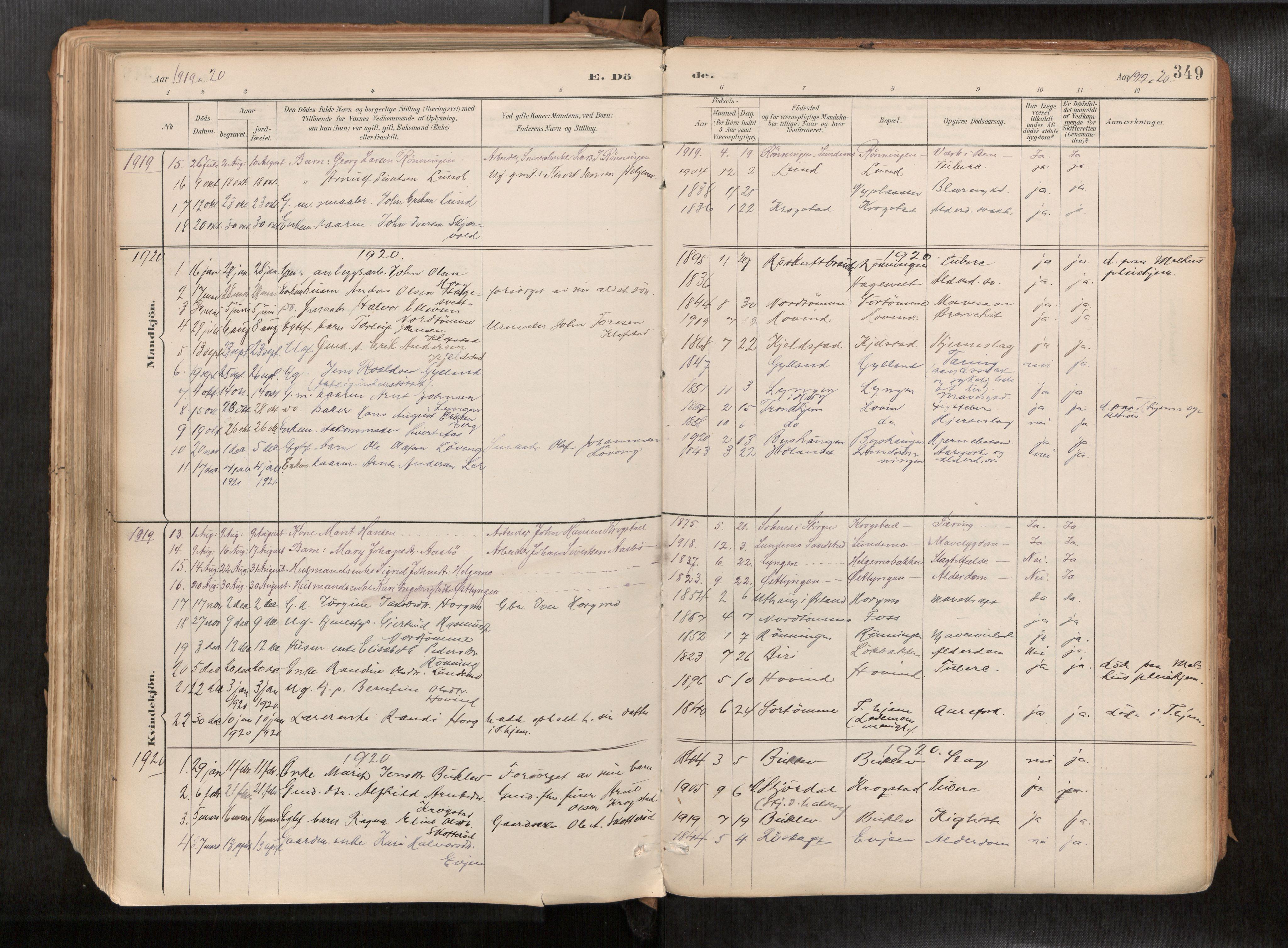 SAT, Ministerialprotokoller, klokkerbøker og fødselsregistre - Sør-Trøndelag, 692/L1105b: Ministerialbok nr. 692A06, 1891-1934, s. 349