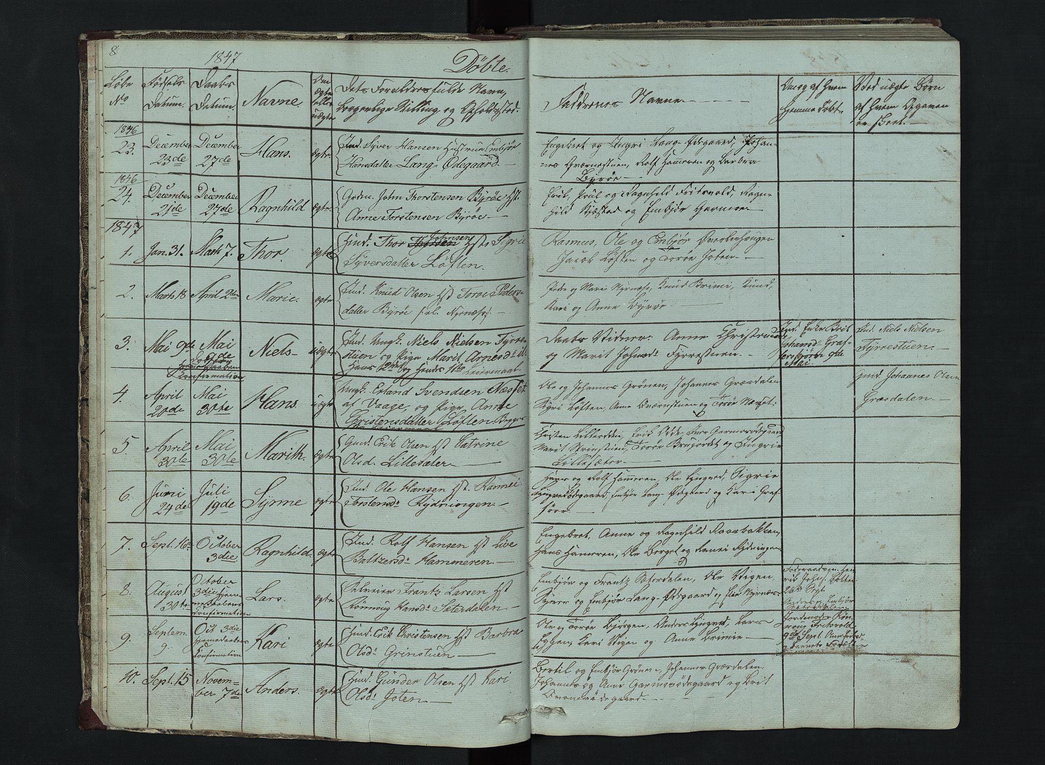 SAH, Lom prestekontor, L/L0014: Klokkerbok nr. 14, 1845-1876, s. 8-9
