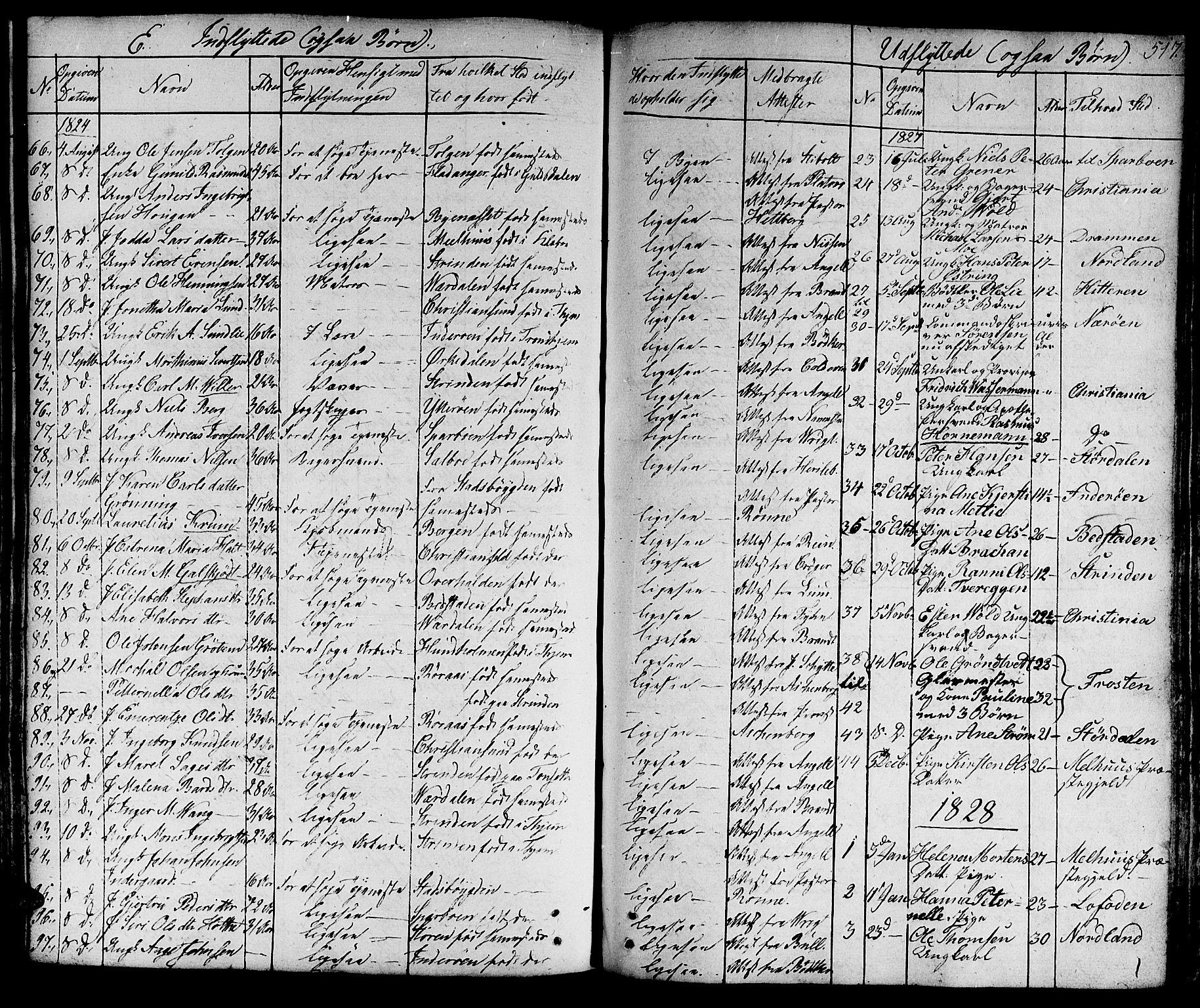 SAT, Ministerialprotokoller, klokkerbøker og fødselsregistre - Sør-Trøndelag, 601/L0045: Ministerialbok nr. 601A13, 1821-1831, s. 517