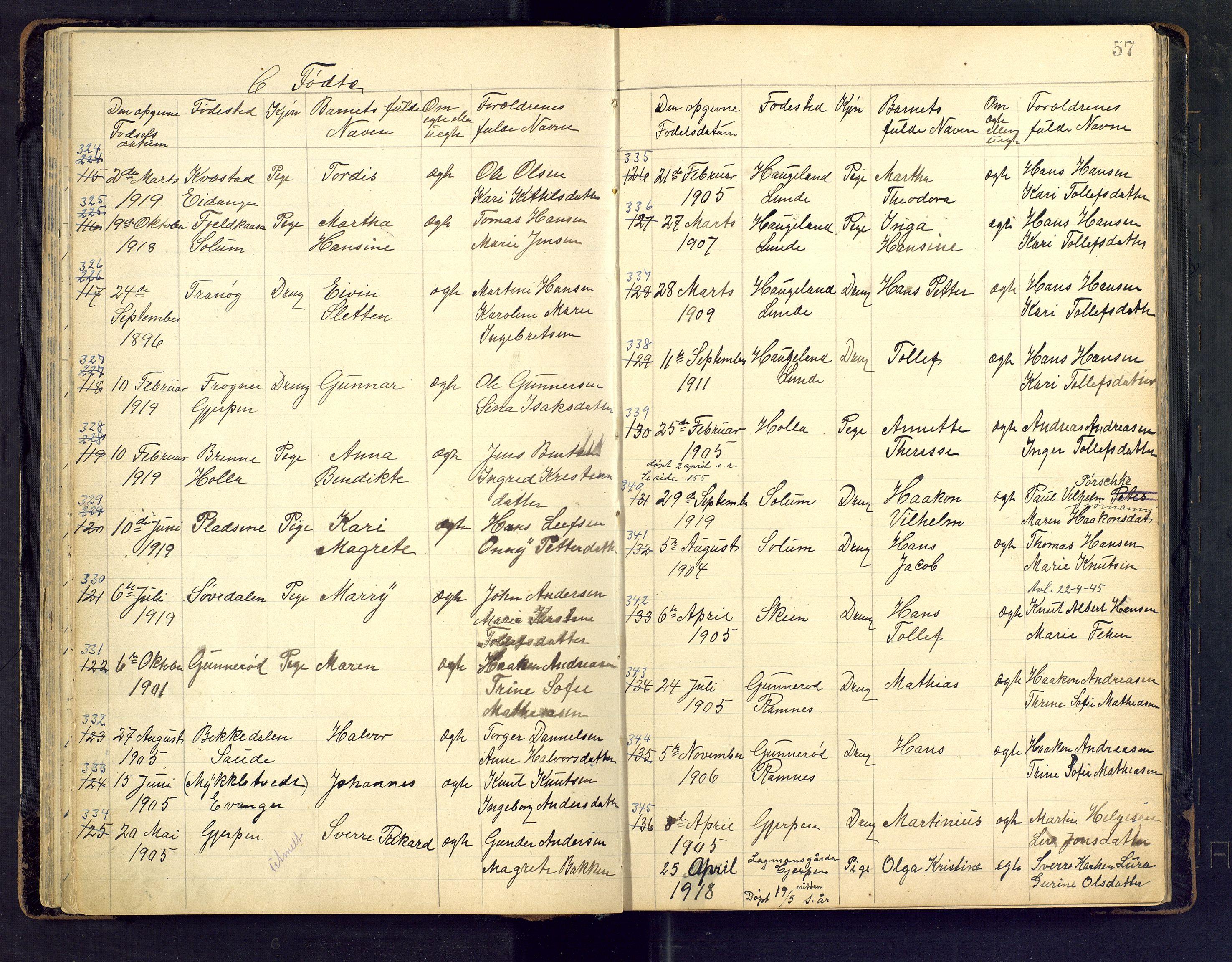 SAKO, Den evangelisk lutherske frimenighet i Jarlsbergs grevskap med flere steder, F/Fb/L0002: Dissenterprotokoll nr. Fa/L0002, 1906-1922, s. 57