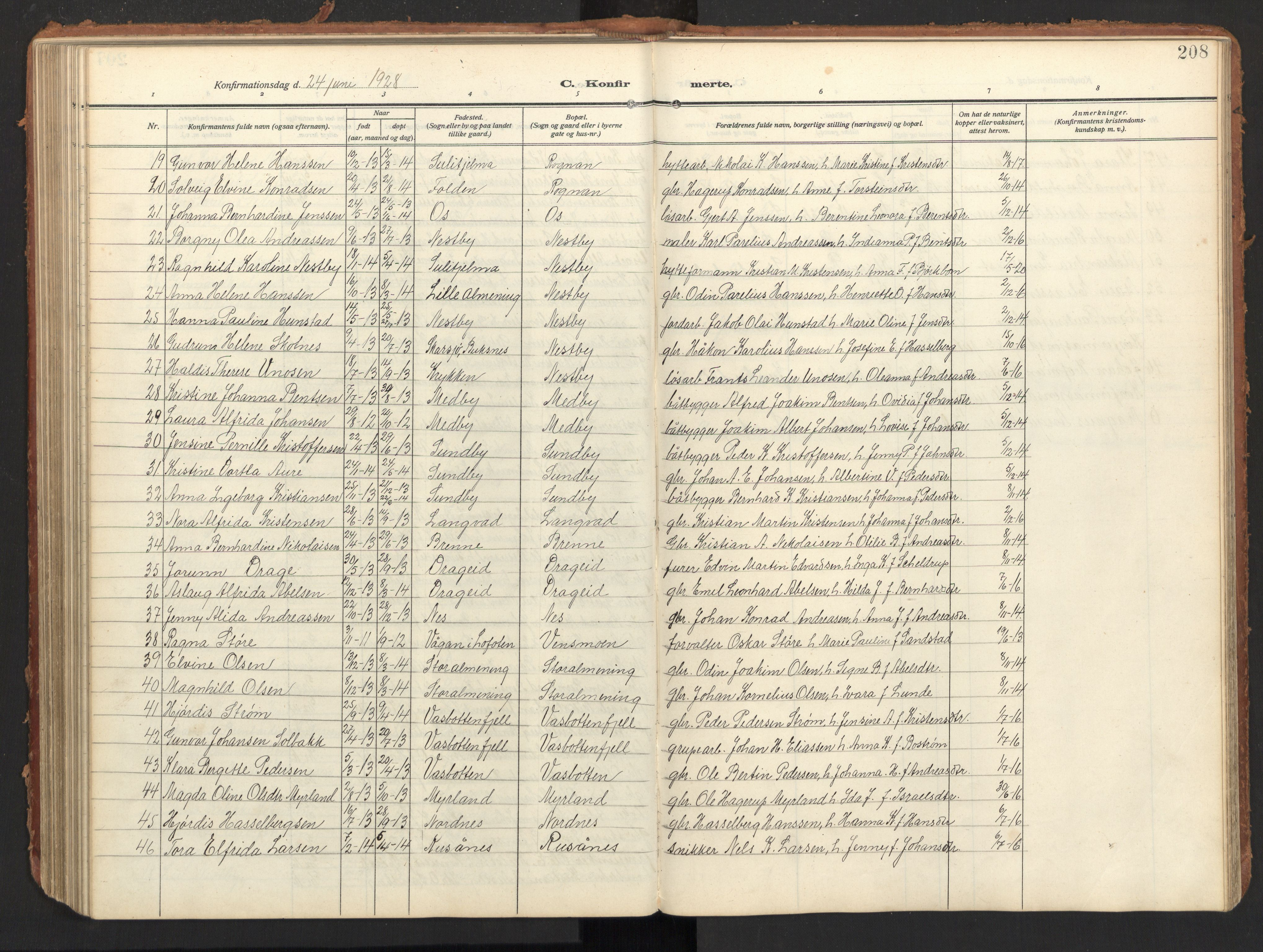 SAT, Ministerialprotokoller, klokkerbøker og fødselsregistre - Nordland, 847/L0683: Klokkerbok nr. 847C11, 1908-1929, s. 208