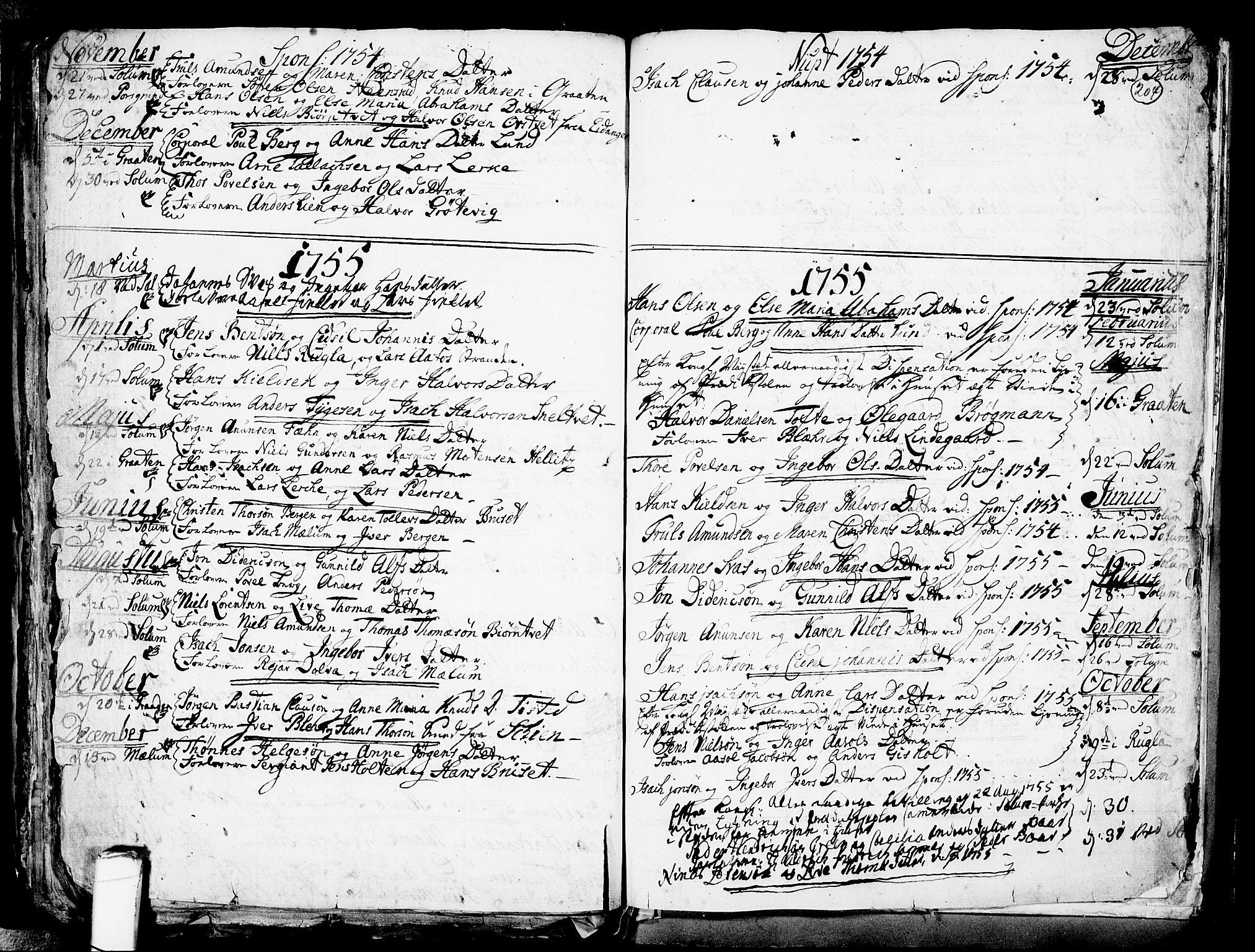 SAKO, Solum kirkebøker, F/Fa/L0002: Ministerialbok nr. I 2, 1713-1761, s. 204