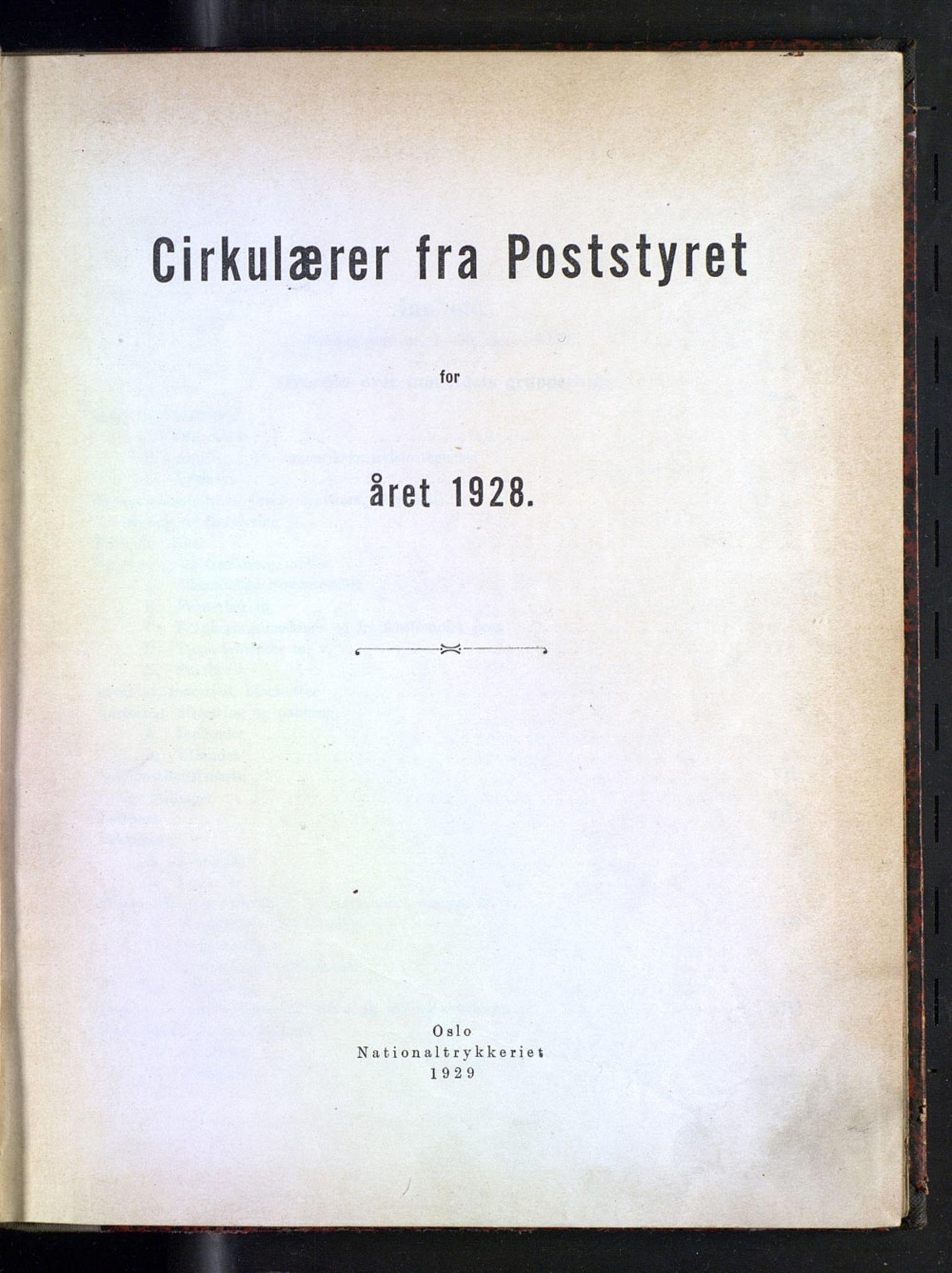 NOPO, Norges Postmuseums bibliotek, -/-: Sirkulærer fra Poststyret, 1928
