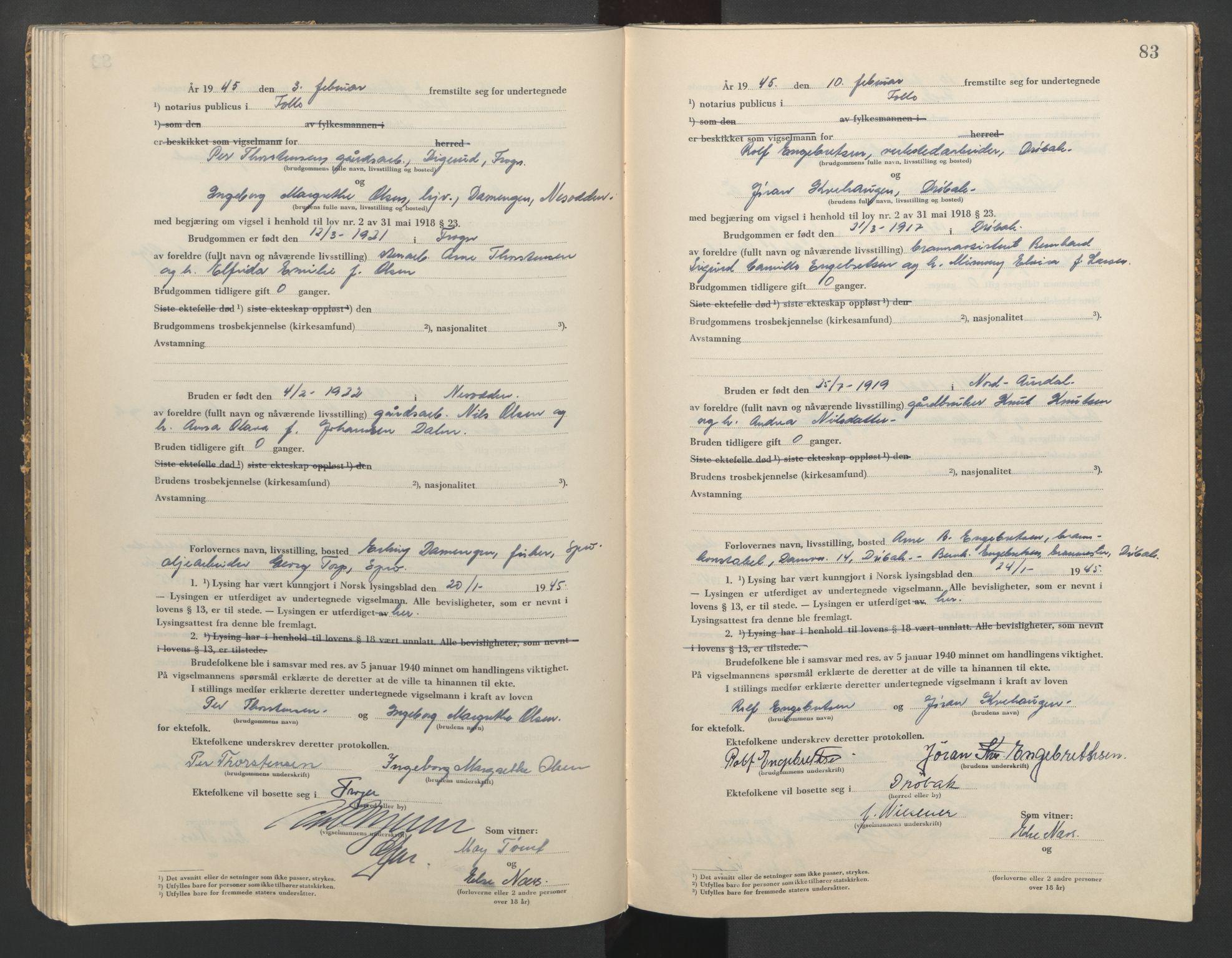 SAO, Follo sorenskriveri, L/La/Lab/L0002: Vigselsbok, 1942-1946, s. 83