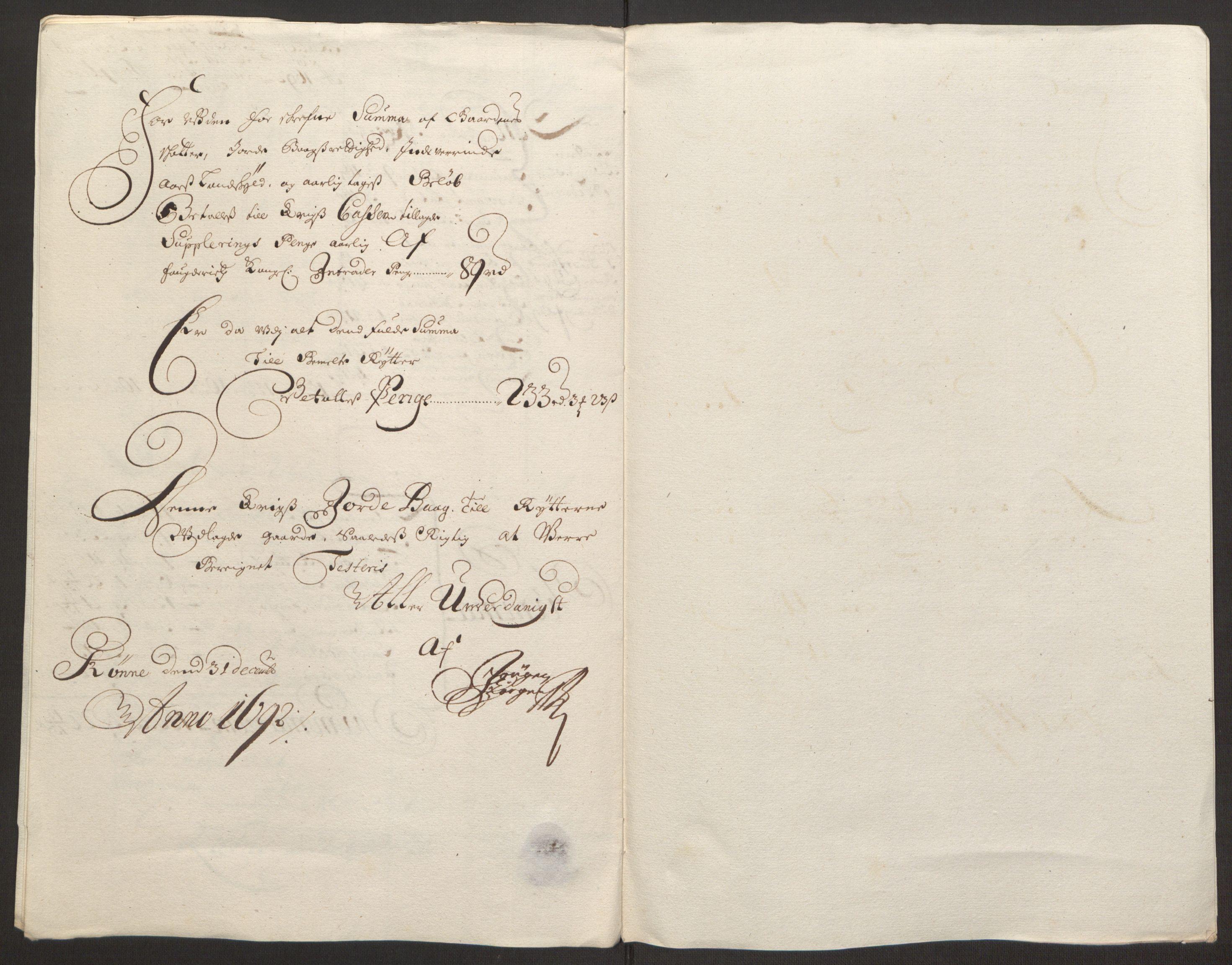 RA, Rentekammeret inntil 1814, Reviderte regnskaper, Fogderegnskap, R13/L0830: Fogderegnskap Solør, Odal og Østerdal, 1692, s. 434