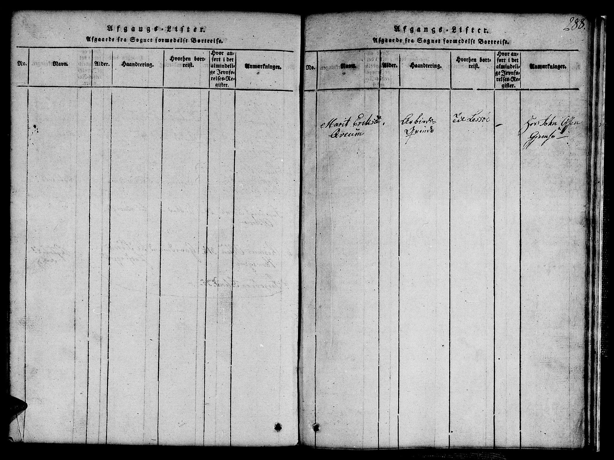 SAT, Ministerialprotokoller, klokkerbøker og fødselsregistre - Sør-Trøndelag, 691/L1092: Klokkerbok nr. 691C03, 1816-1852, s. 288