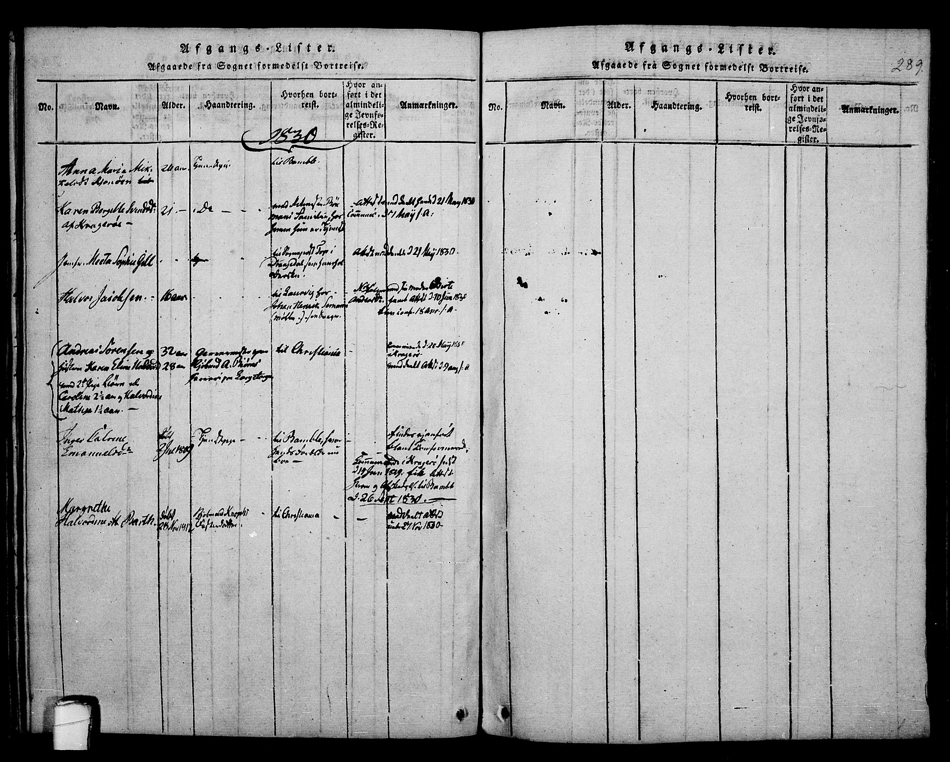 SAKO, Kragerø kirkebøker, F/Fa/L0004: Ministerialbok nr. 4, 1814-1831, s. 289