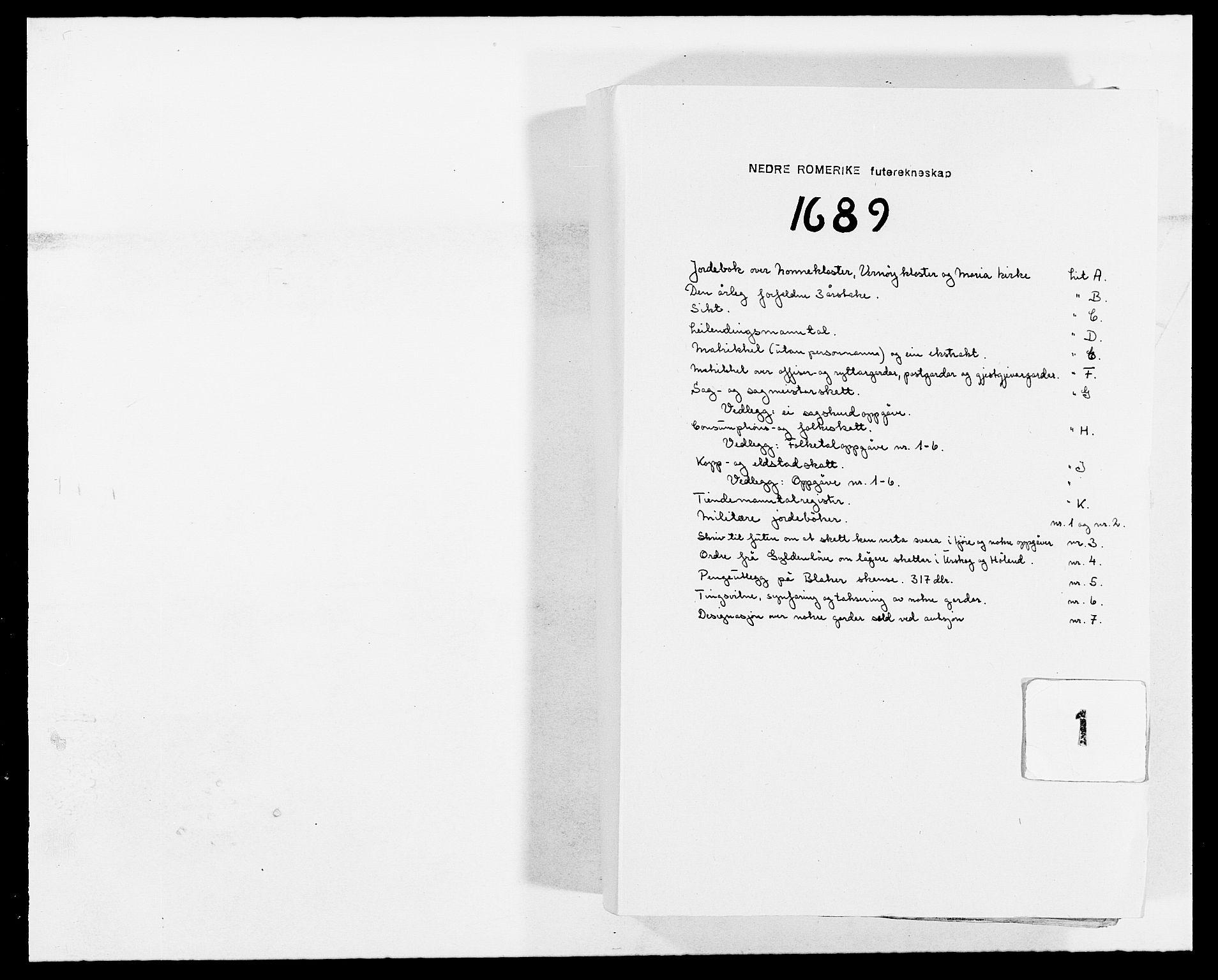 RA, Rentekammeret inntil 1814, Reviderte regnskaper, Fogderegnskap, R11/L0574: Fogderegnskap Nedre Romerike, 1689-1690, s. 1