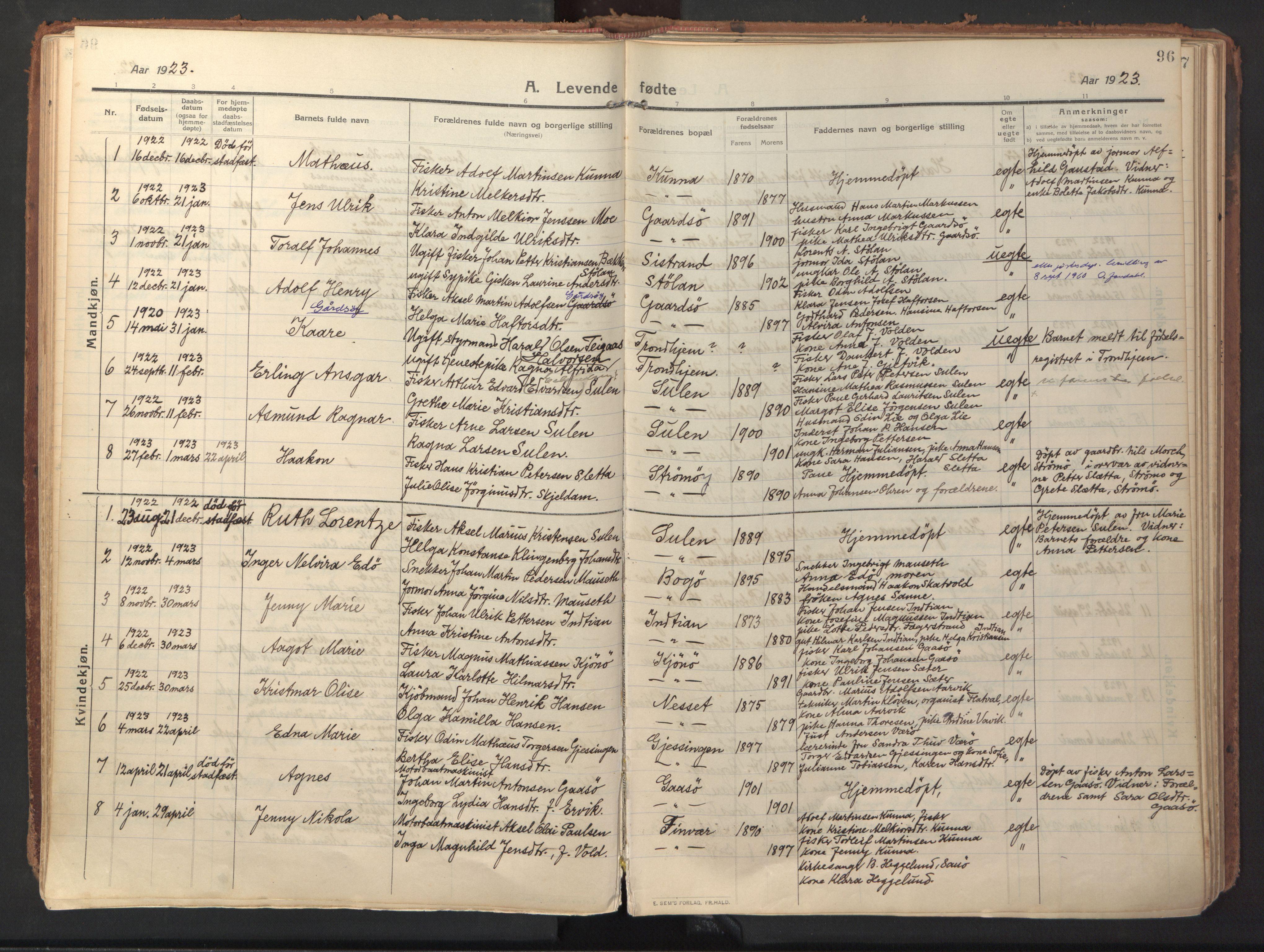 SAT, Ministerialprotokoller, klokkerbøker og fødselsregistre - Sør-Trøndelag, 640/L0581: Ministerialbok nr. 640A06, 1910-1924, s. 96