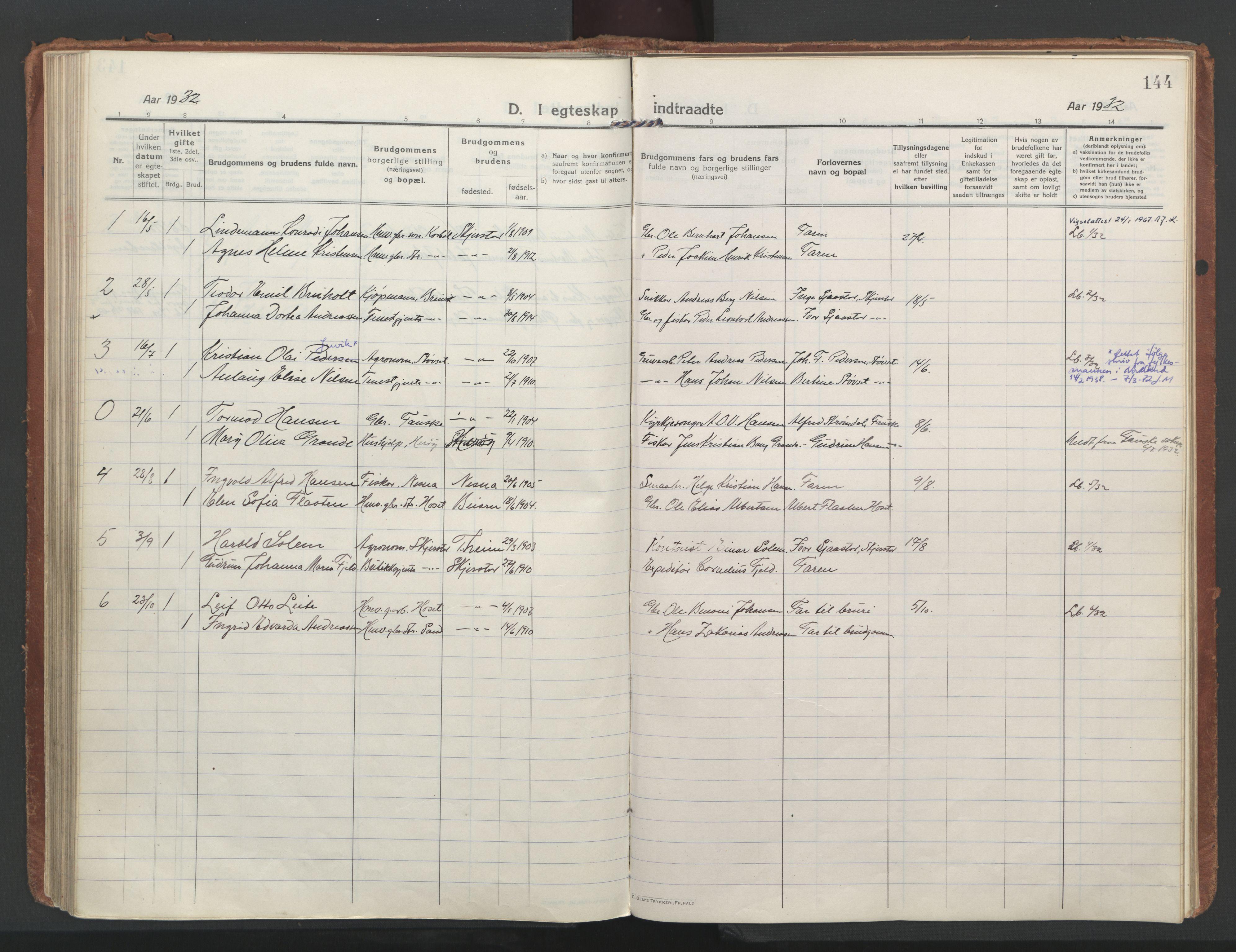 SAT, Ministerialprotokoller, klokkerbøker og fødselsregistre - Nordland, 852/L0748: Ministerialbok nr. 852A18, 1913-1932, s. 144