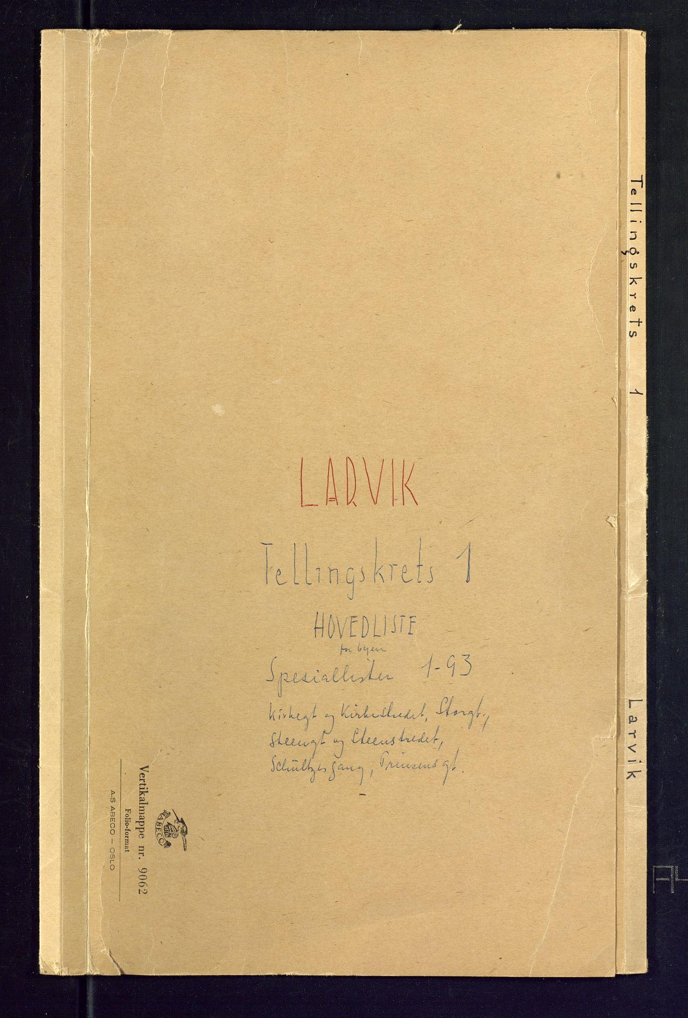 SAKO, Folketelling 1875 for 0707P Larvik prestegjeld, 1875, s. 1