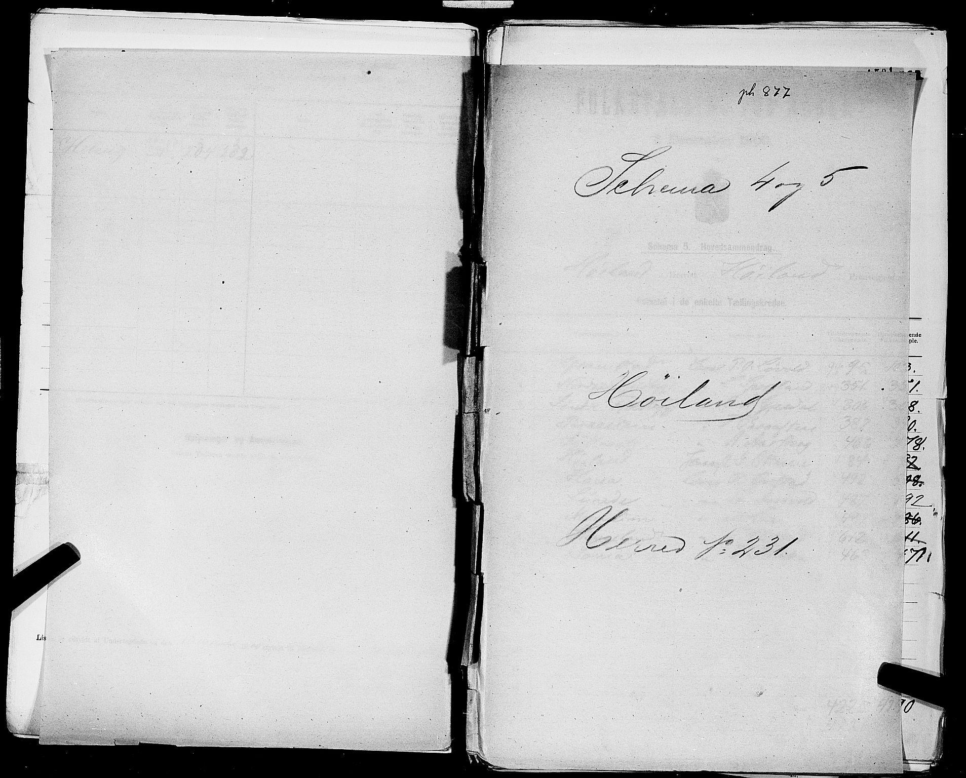 SAST, Folketelling 1900 for 1123 Høyland herred, 1900, s. 1