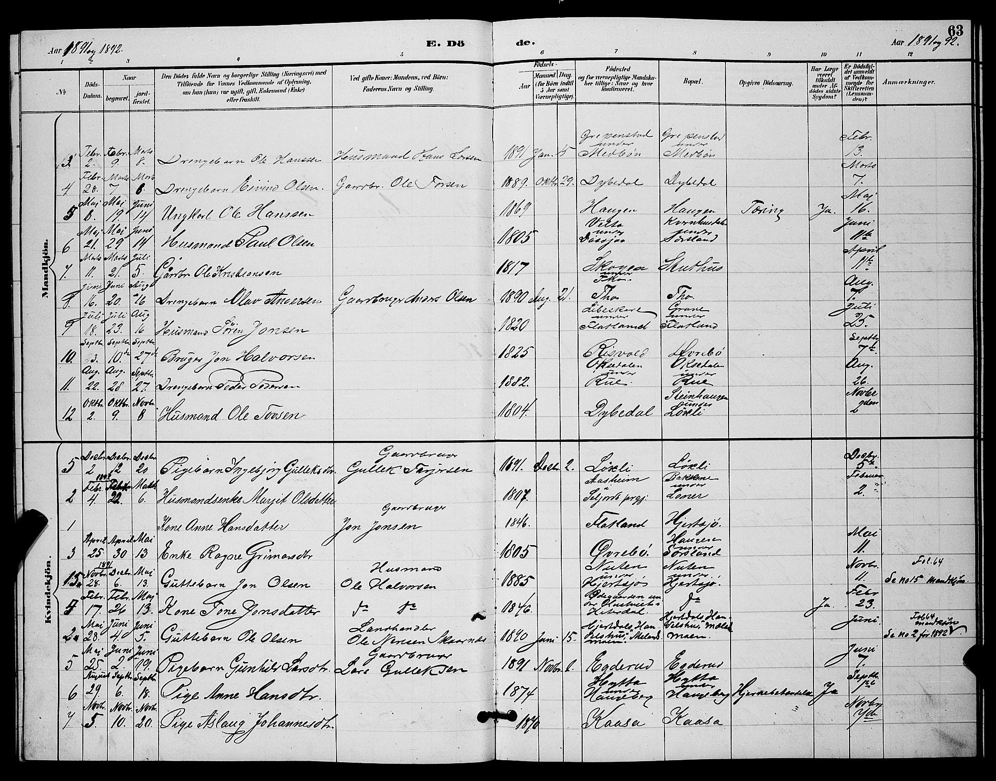 SAKO, Hjartdal kirkebøker, G/Ga/L0003: Klokkerbok nr. I 3, 1889-1896, s. 63