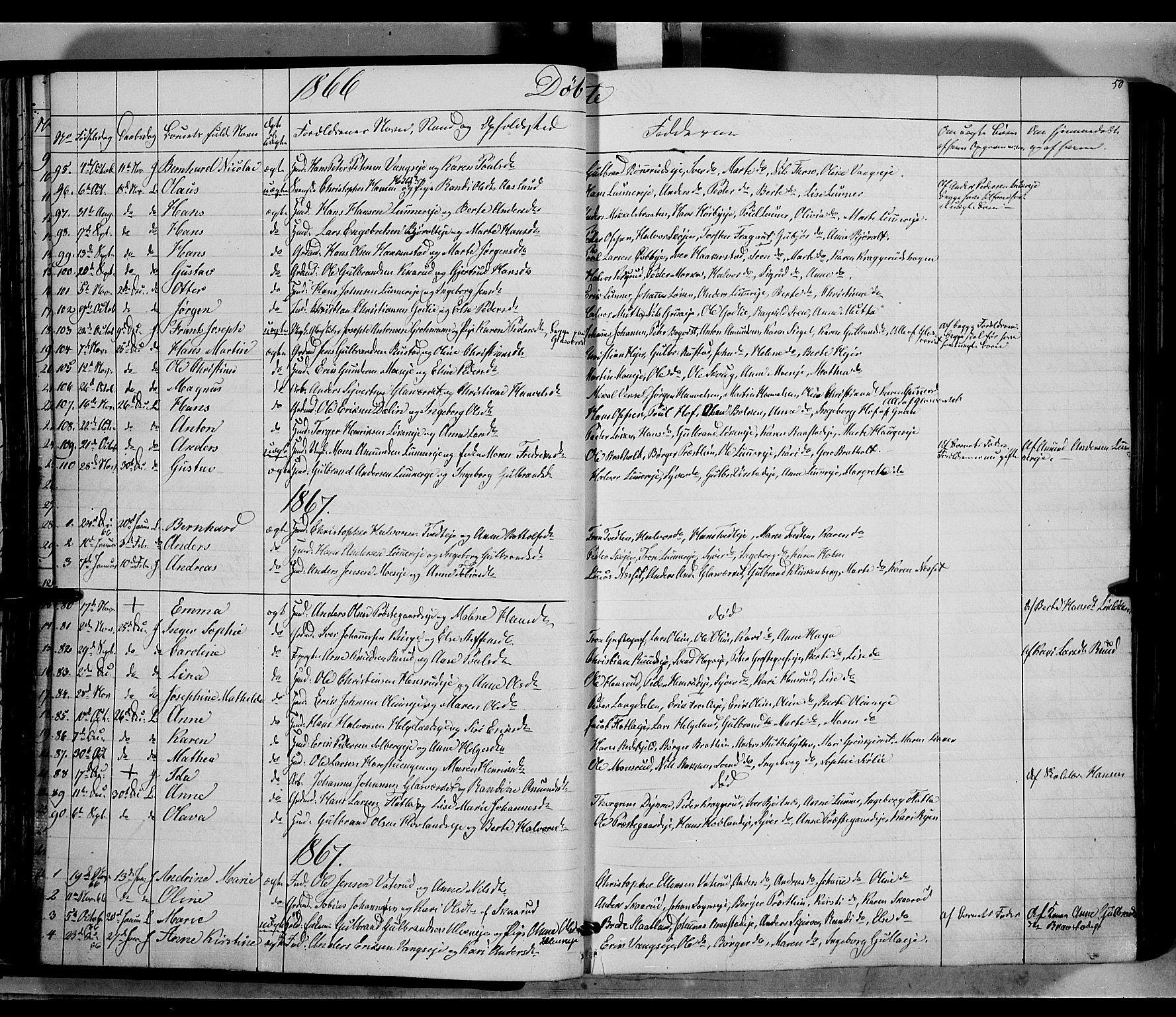 SAH, Jevnaker prestekontor, Ministerialbok nr. 7, 1858-1876, s. 50