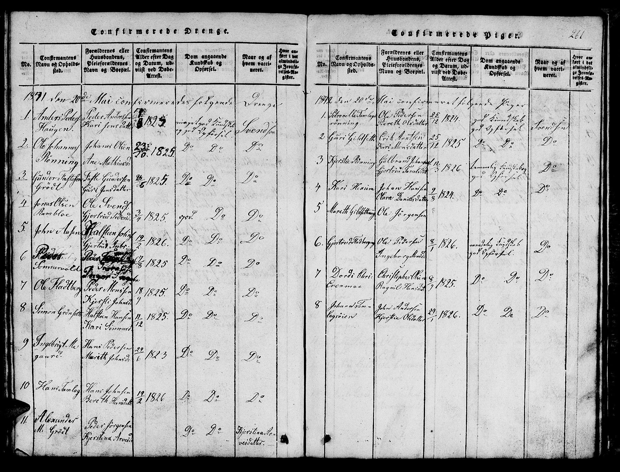 SAT, Ministerialprotokoller, klokkerbøker og fødselsregistre - Sør-Trøndelag, 685/L0976: Klokkerbok nr. 685C01, 1817-1878, s. 261