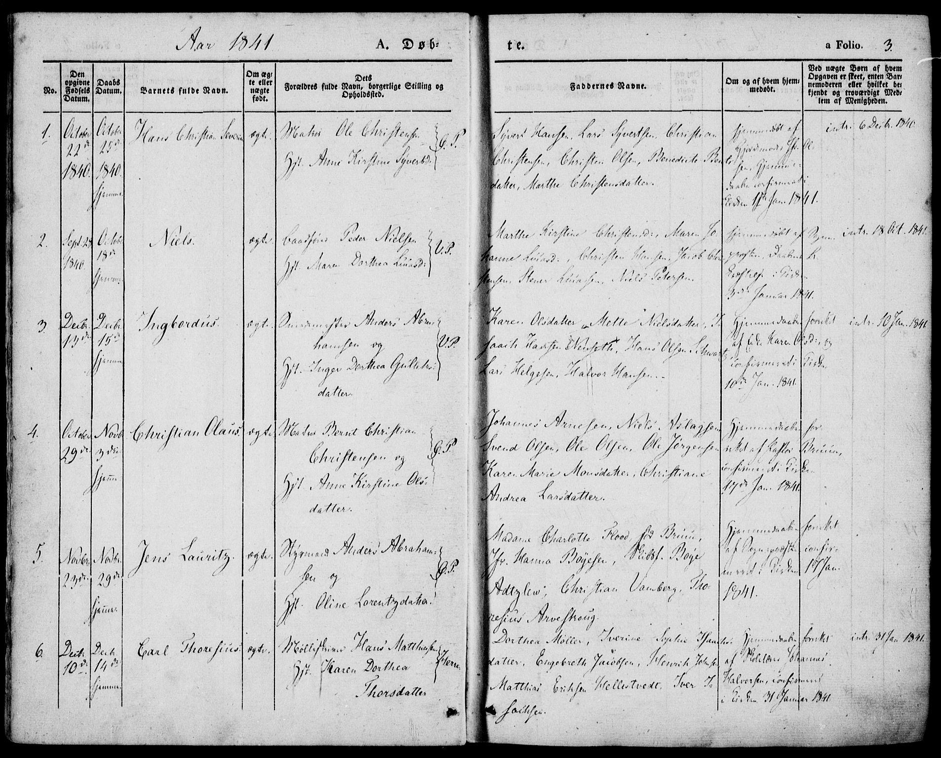 SAKO, Porsgrunn kirkebøker , F/Fa/L0006: Ministerialbok nr. 6, 1841-1857, s. 3