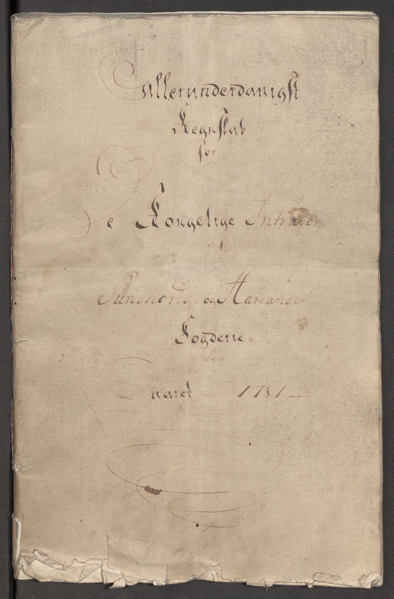 RA, Rentekammeret inntil 1814, Reviderte regnskaper, Fogderegnskap, R48/L3097: Fogderegnskap Sunnhordland og Hardanger, 1781, s. 4