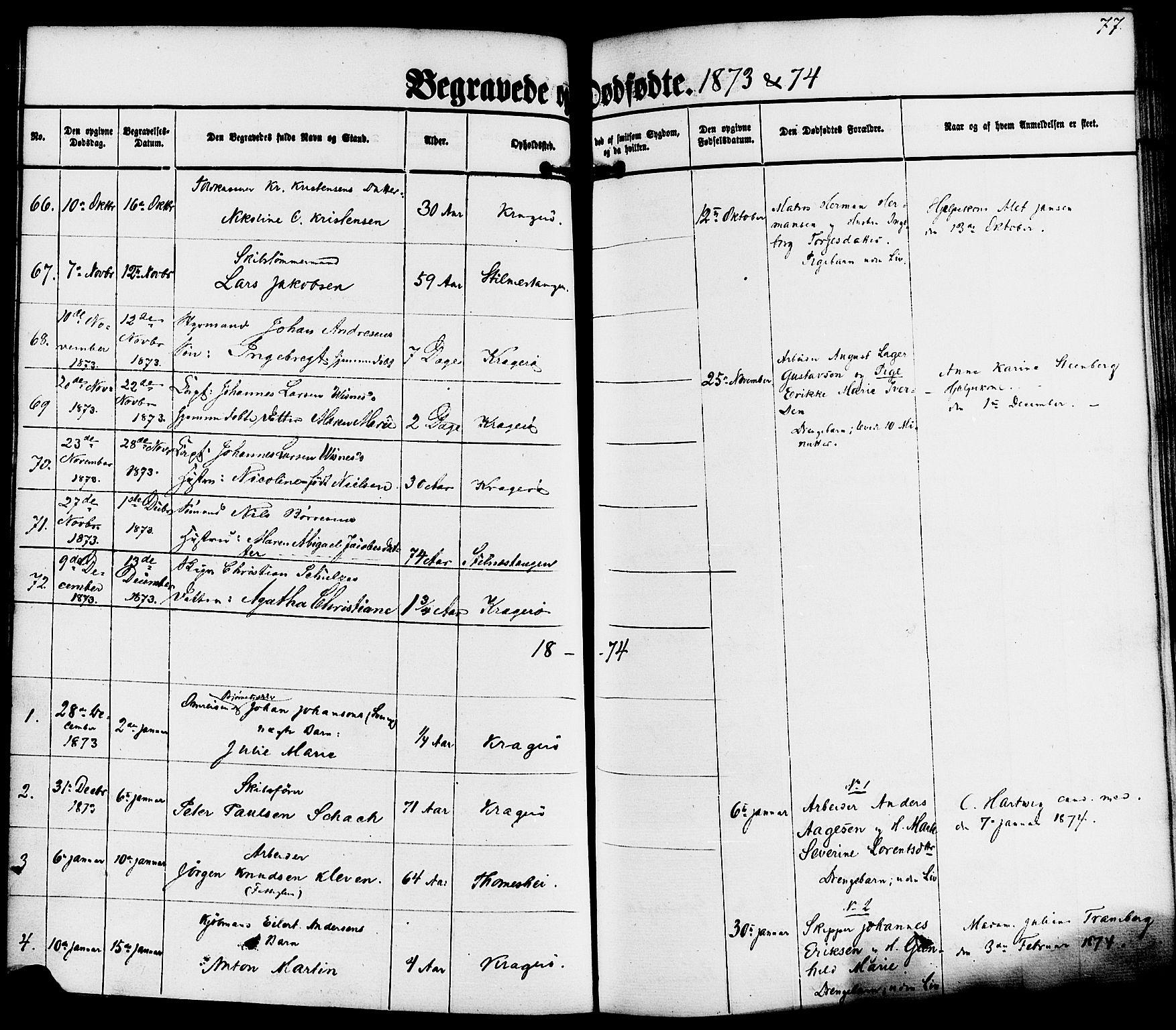 SAKO, Kragerø kirkebøker, F/Fa/L0010: Ministerialbok nr. 10, 1861-1885, s. 77