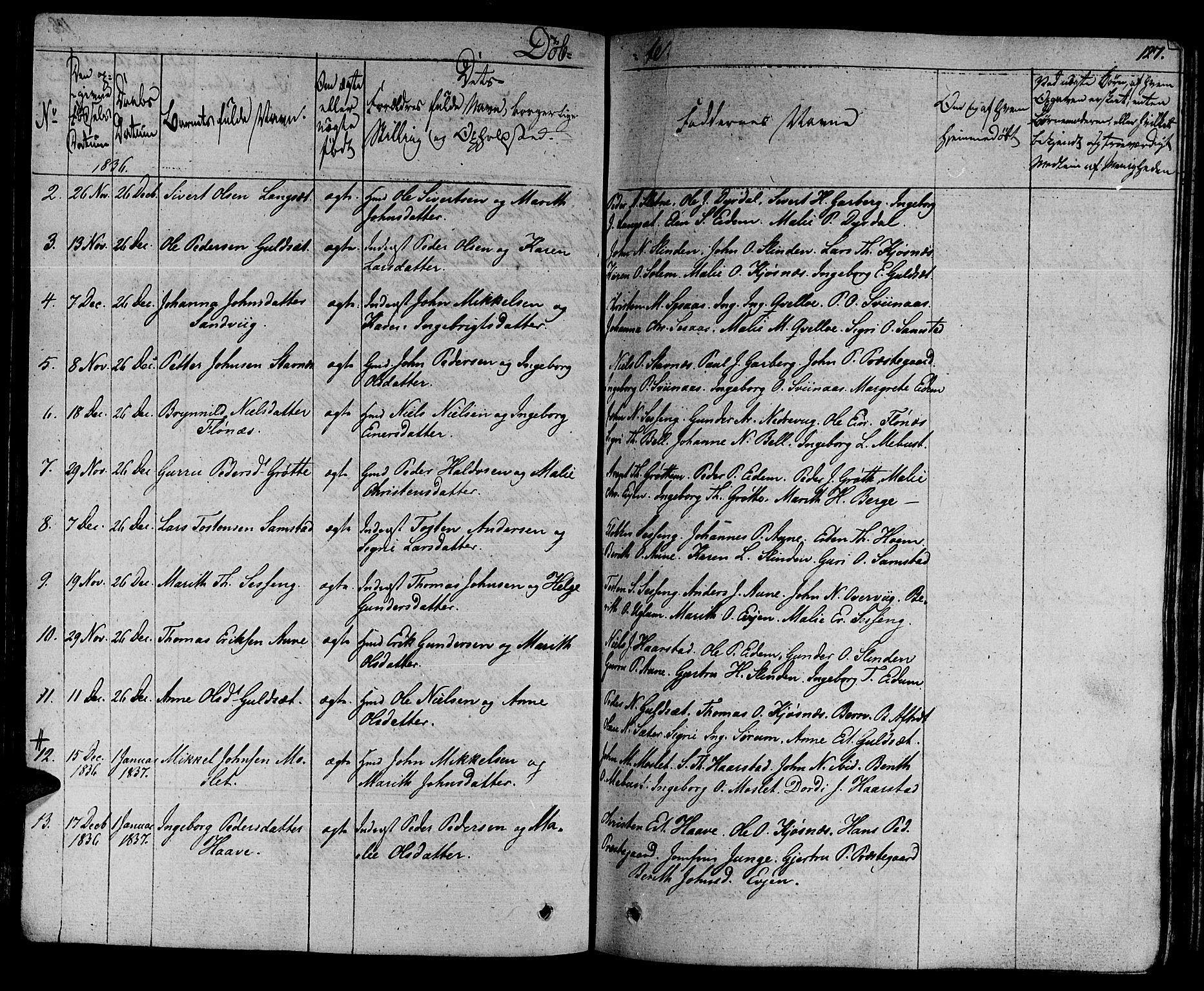 SAT, Ministerialprotokoller, klokkerbøker og fødselsregistre - Sør-Trøndelag, 695/L1143: Ministerialbok nr. 695A05 /1, 1824-1842, s. 127