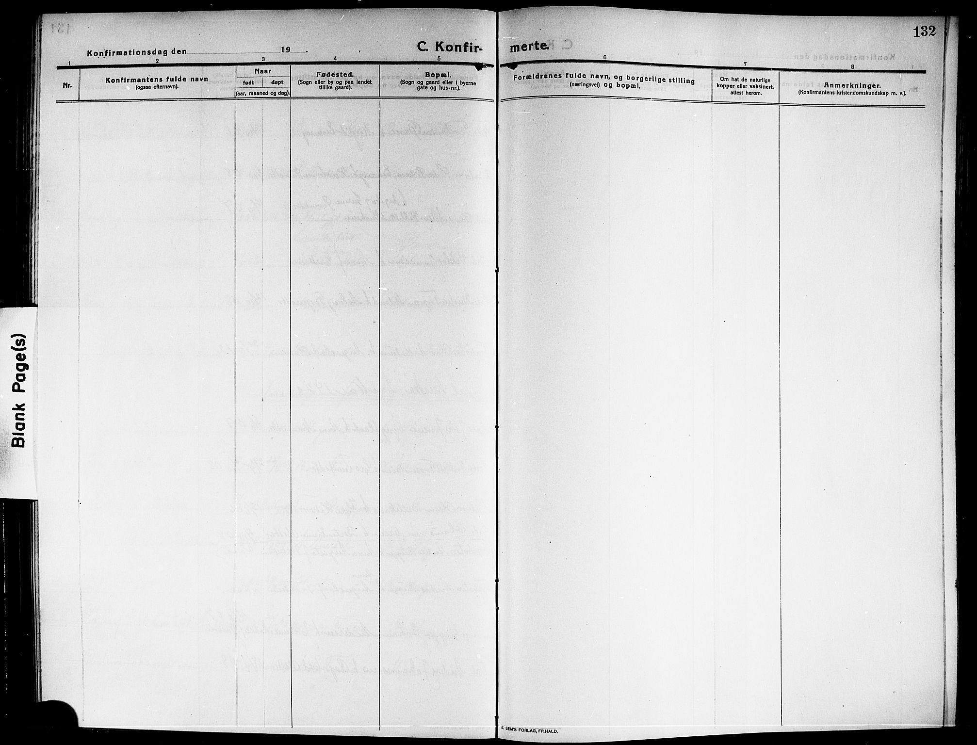 SAKO, Rjukan kirkebøker, G/Ga/L0002: Klokkerbok nr. 2, 1913-1920, s. 132
