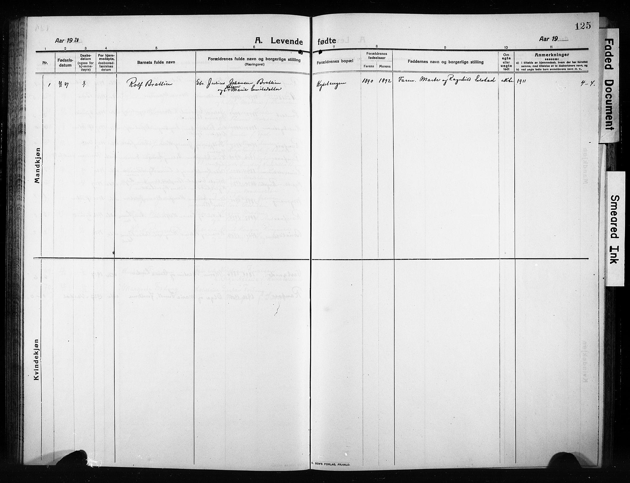 SAH, Vestre Toten prestekontor, Klokkerbok nr. 12, 1909-1928, s. 125