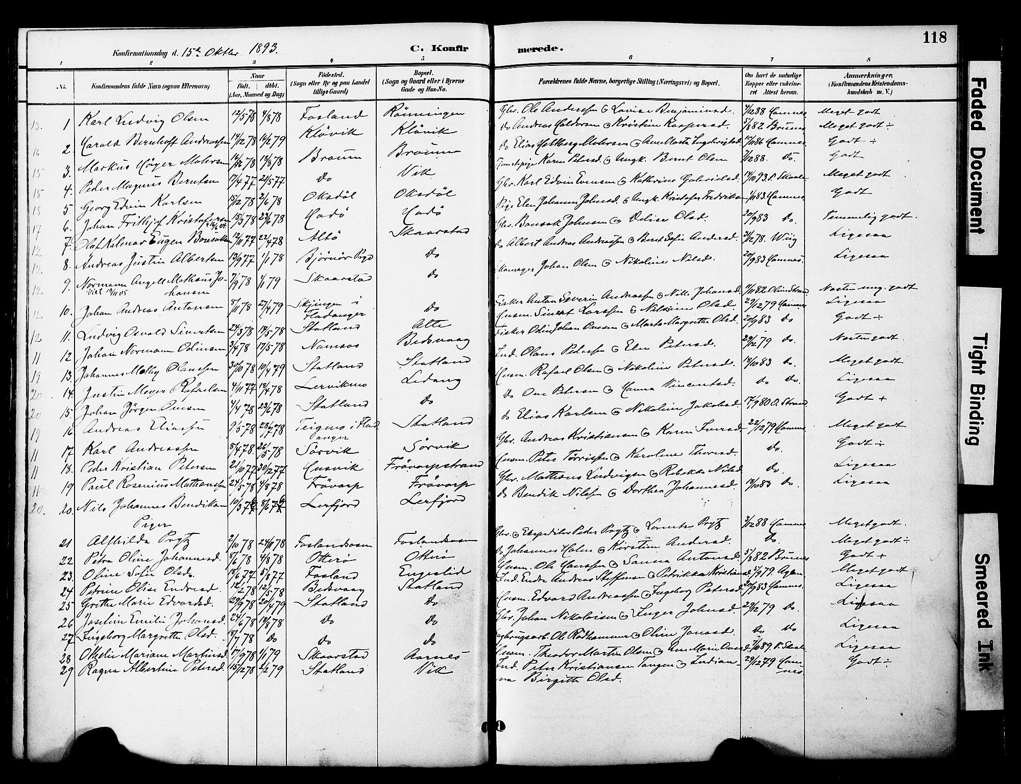 SAT, Ministerialprotokoller, klokkerbøker og fødselsregistre - Nord-Trøndelag, 774/L0628: Ministerialbok nr. 774A02, 1887-1903, s. 118