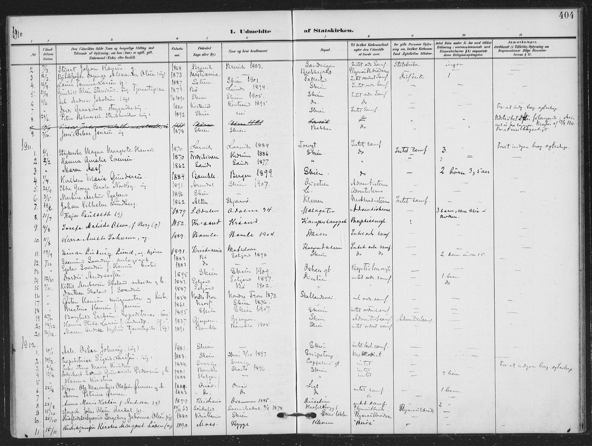 SAKO, Skien kirkebøker, F/Fa/L0012: Ministerialbok nr. 12, 1908-1914, s. 404