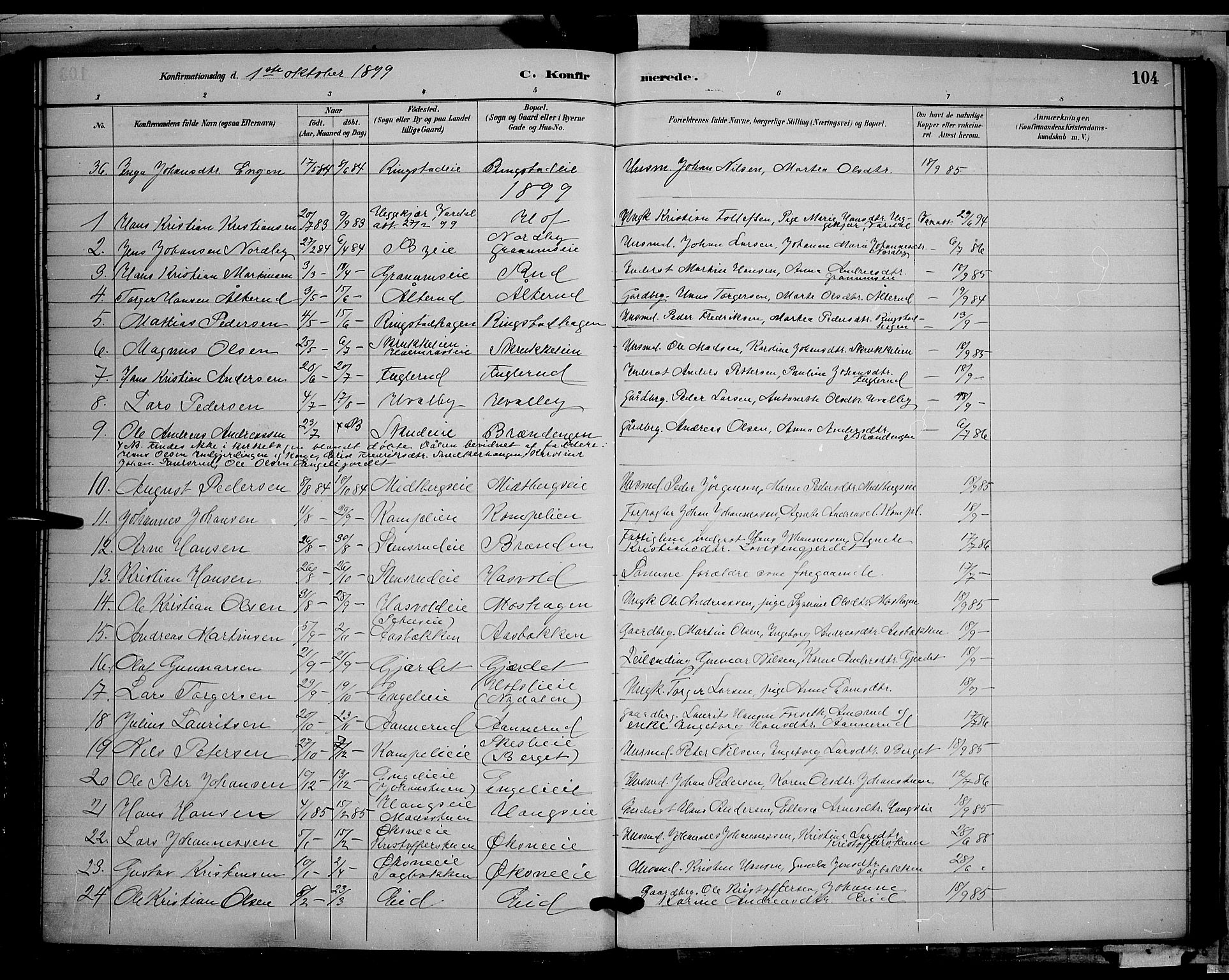 SAH, Søndre Land prestekontor, L/L0002: Klokkerbok nr. 2, 1884-1900, s. 104