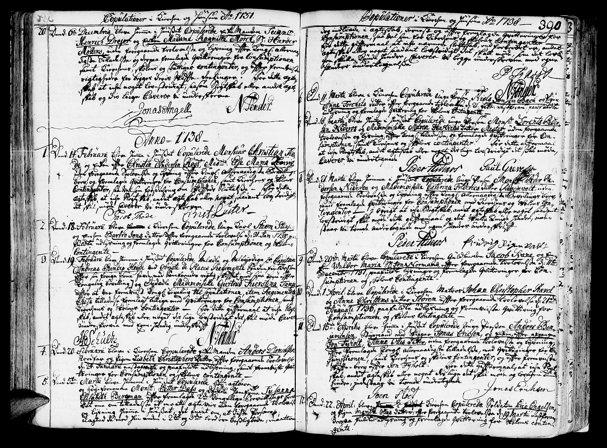 SAT, Ministerialprotokoller, klokkerbøker og fødselsregistre - Sør-Trøndelag, 602/L0103: Ministerialbok nr. 602A01, 1732-1774, s. 390