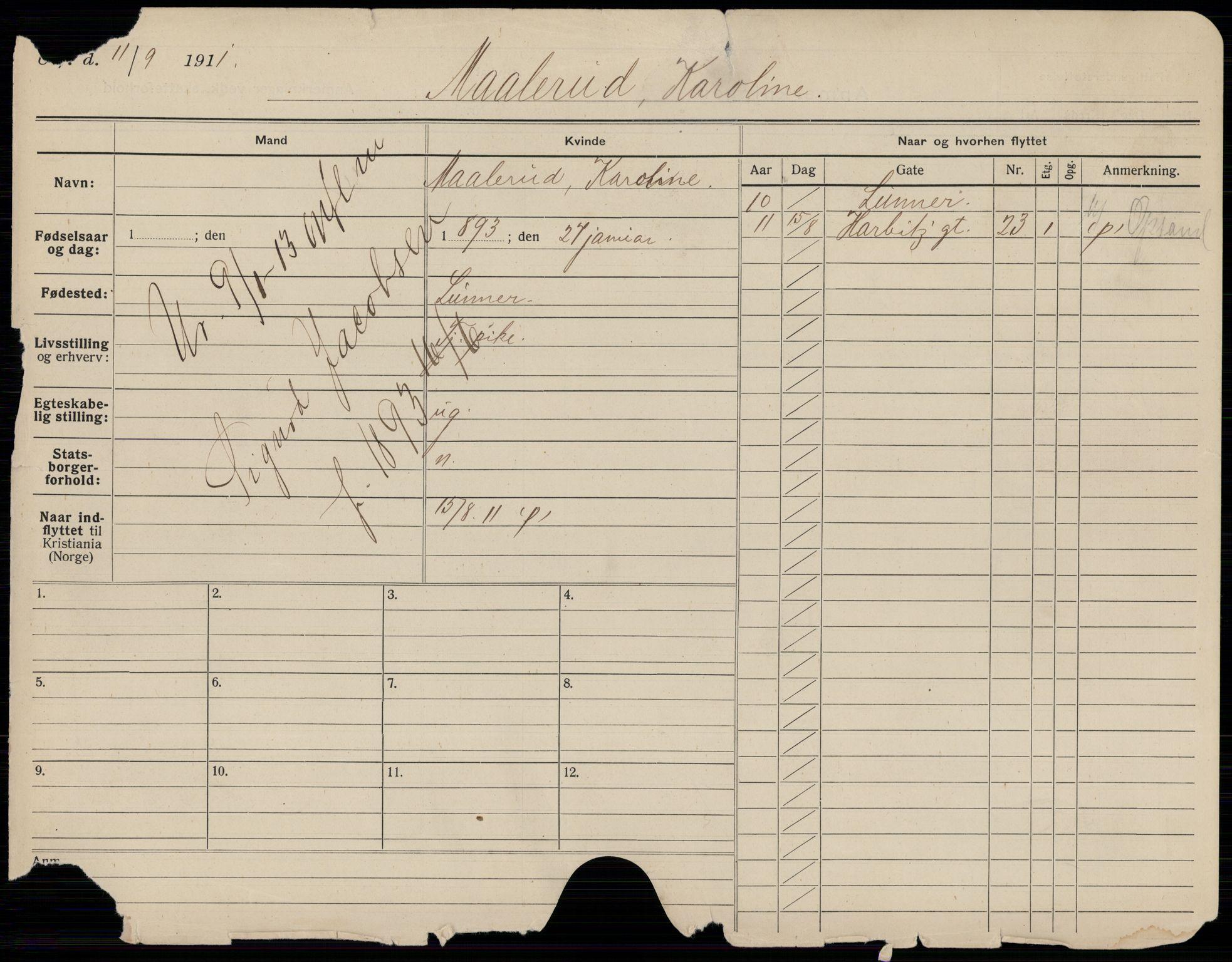 SAO, Oslo folkeregister, Registerkort, K/Kb/L0018: M - Å, 1913