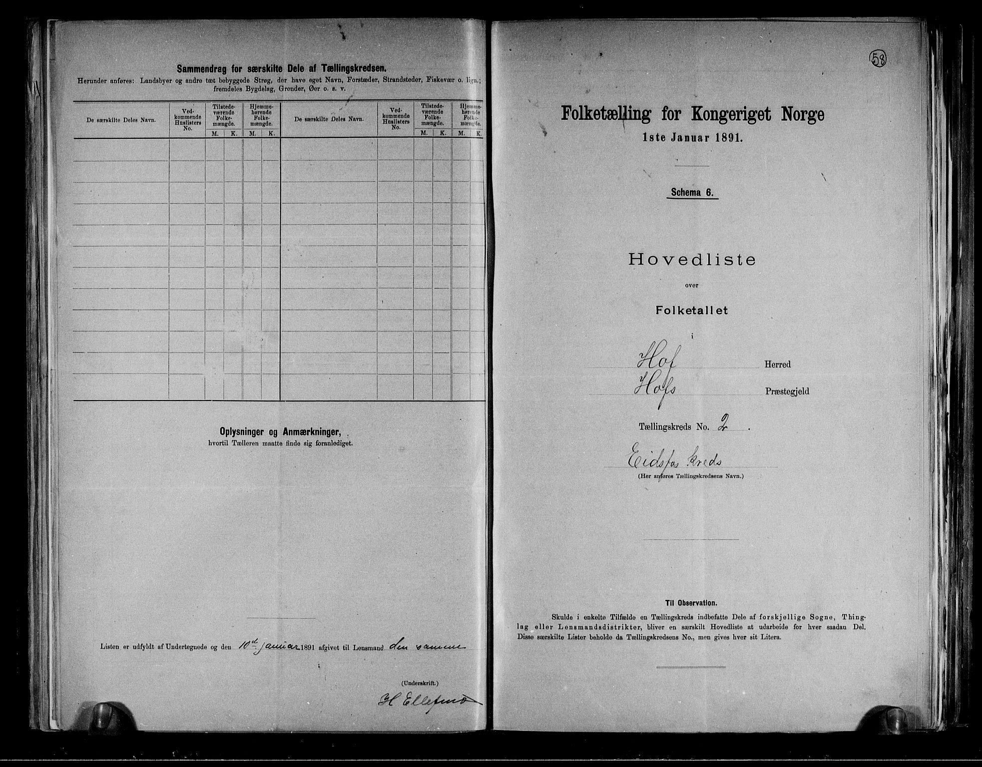 RA, Folketelling 1891 for 0714 Hof herred, 1891, s. 6