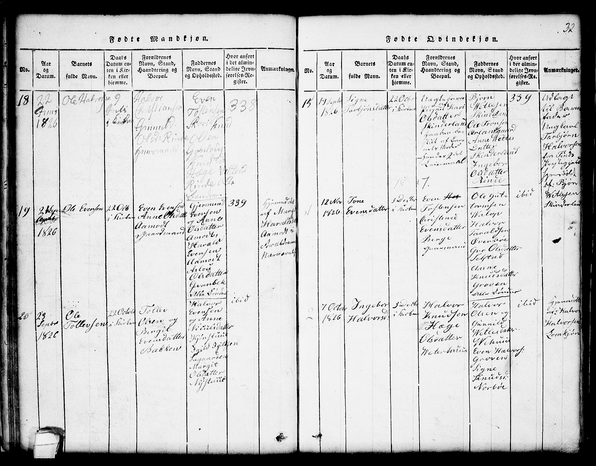 SAKO, Seljord kirkebøker, G/Gc/L0001: Klokkerbok nr. III 1, 1815-1849, s. 32