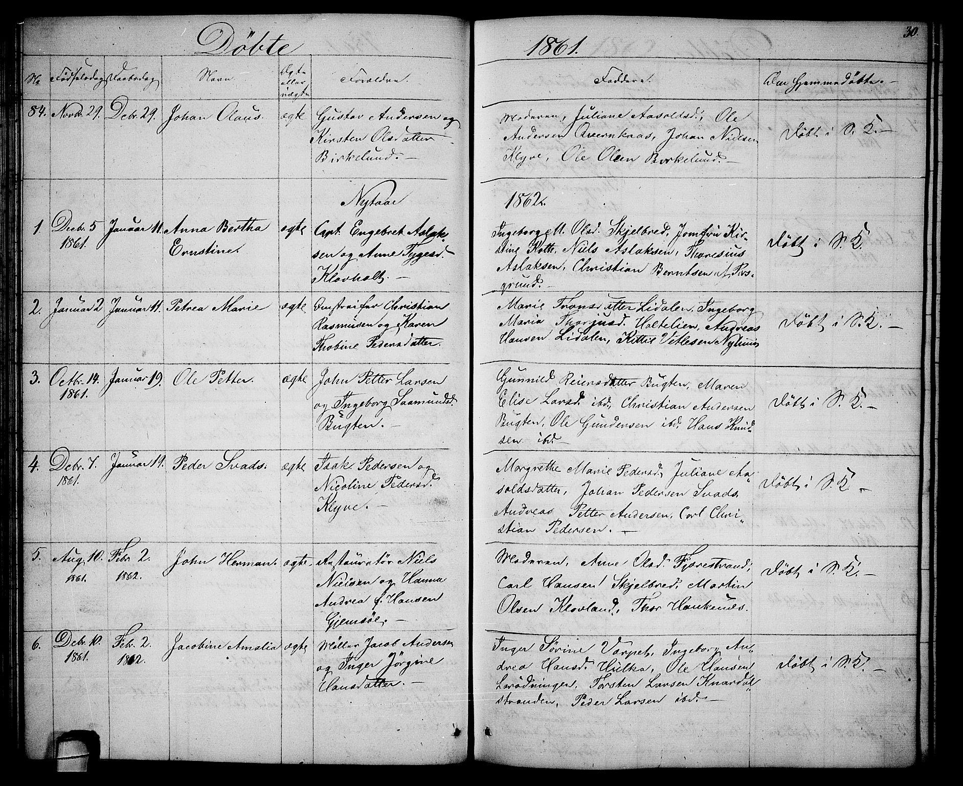 SAKO, Solum kirkebøker, G/Ga/L0004: Klokkerbok nr. I 4, 1859-1876, s. 30