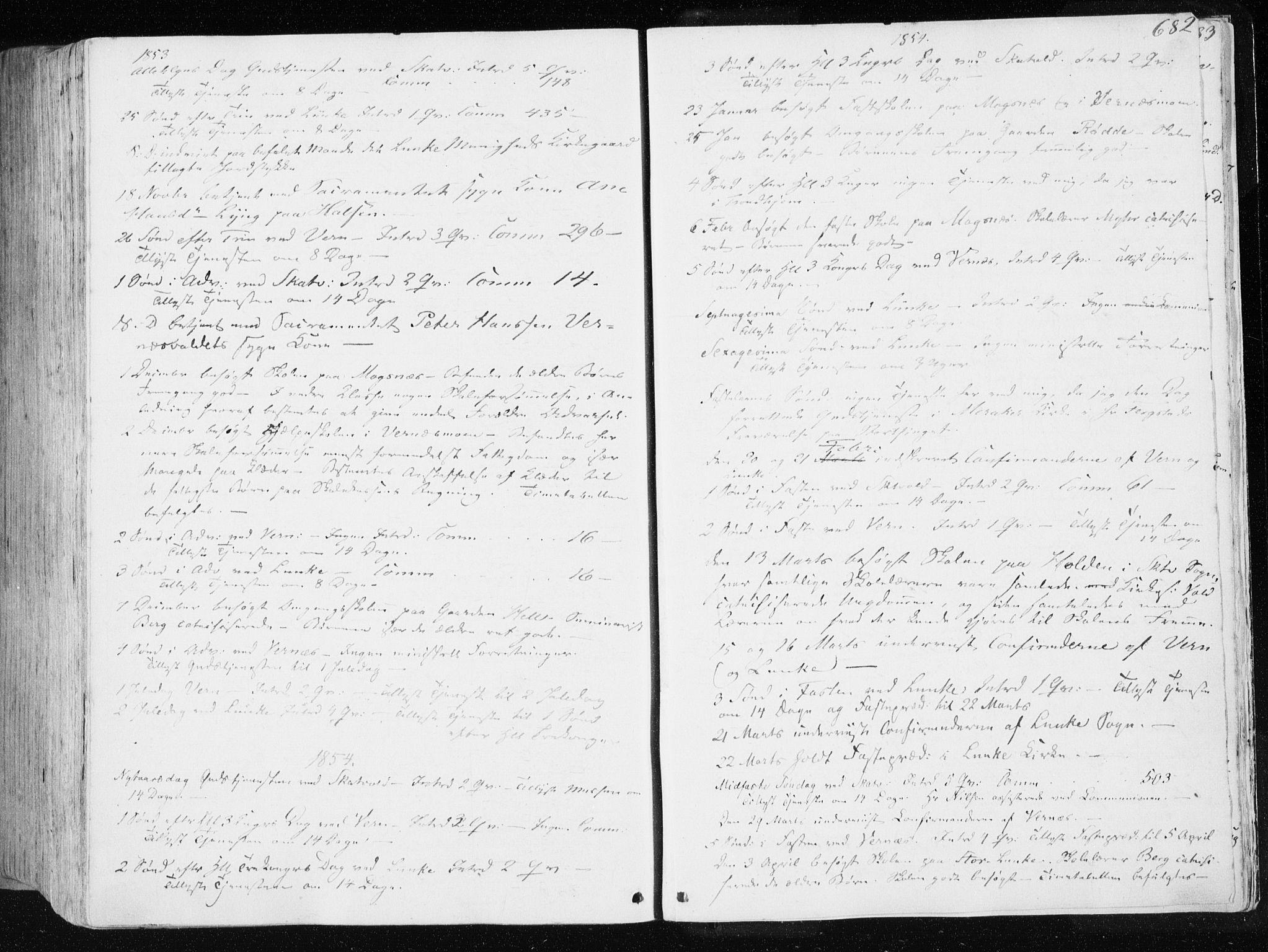SAT, Ministerialprotokoller, klokkerbøker og fødselsregistre - Nord-Trøndelag, 709/L0074: Ministerialbok nr. 709A14, 1845-1858, s. 682