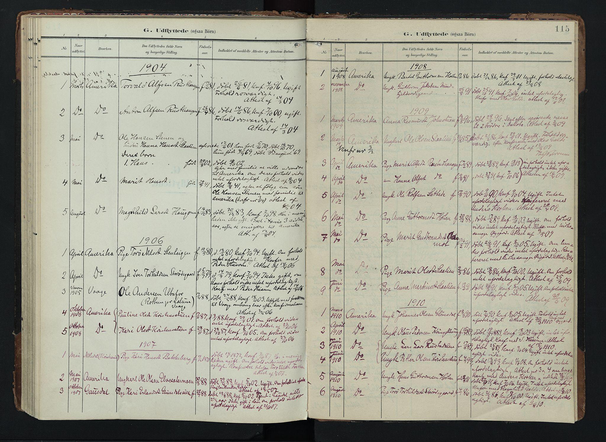 SAH, Lom prestekontor, K/L0012: Ministerialbok nr. 12, 1904-1928, s. 115