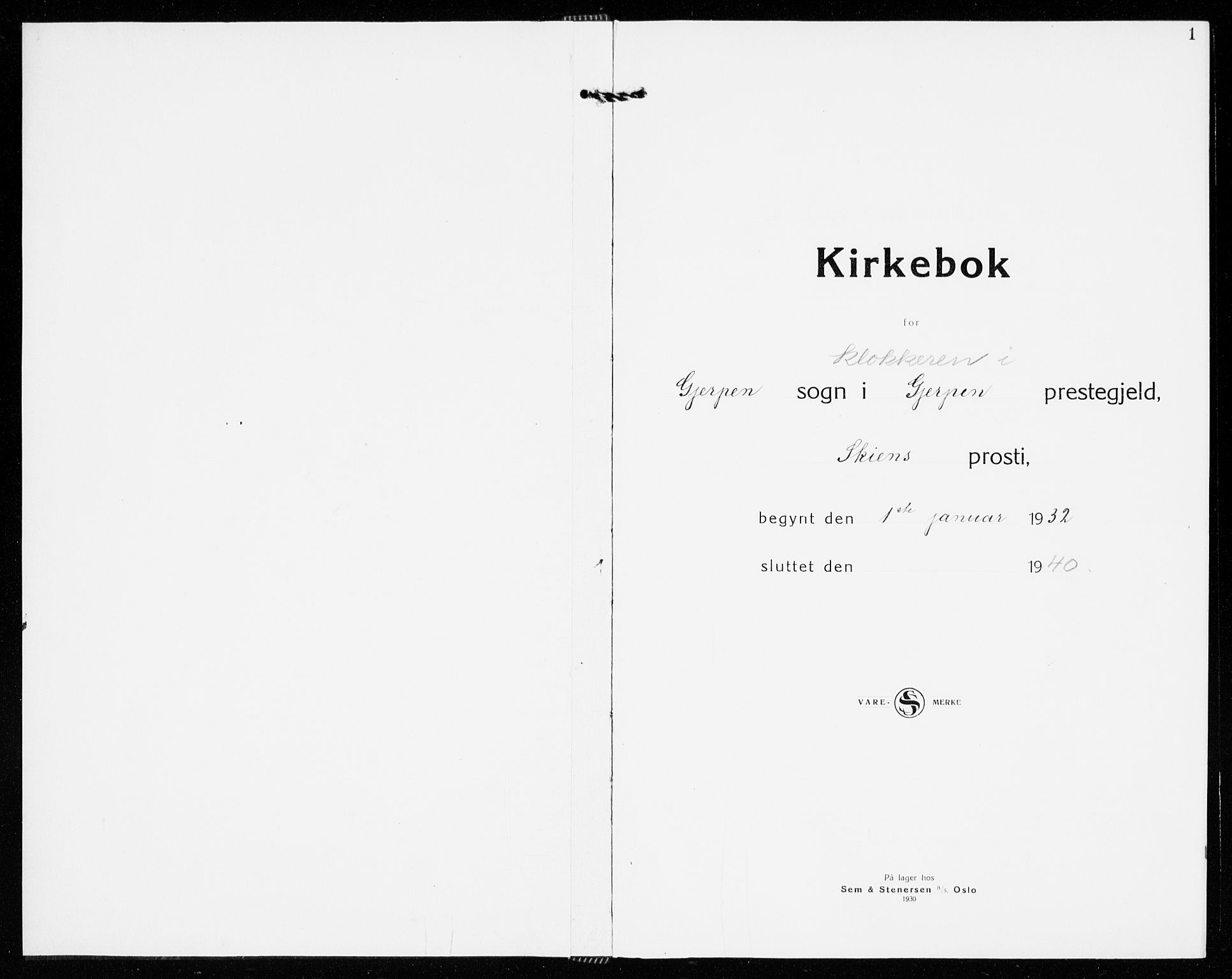 SAKO, Gjerpen kirkebøker, G/Ga/L0005: Klokkerbok nr. I 5, 1932-1940, s. 1