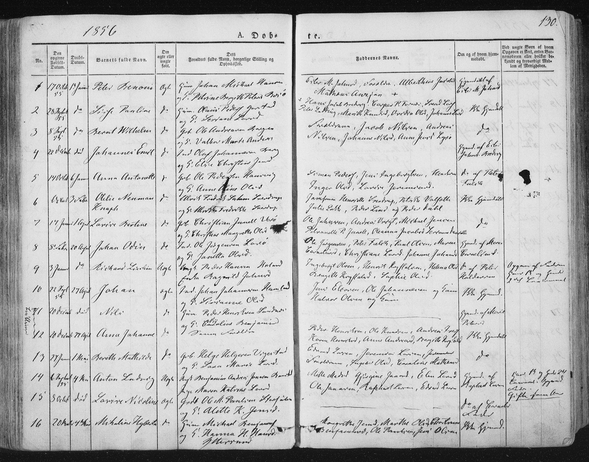 SAT, Ministerialprotokoller, klokkerbøker og fødselsregistre - Nord-Trøndelag, 784/L0669: Ministerialbok nr. 784A04, 1829-1859, s. 130
