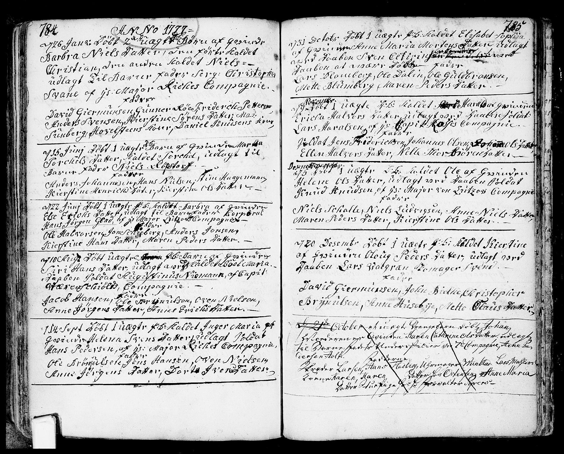 SAO, Fredrikstad prestekontor Kirkebøker, F/Fa/L0002: Ministerialbok nr. 2, 1750-1804, s. 784-785