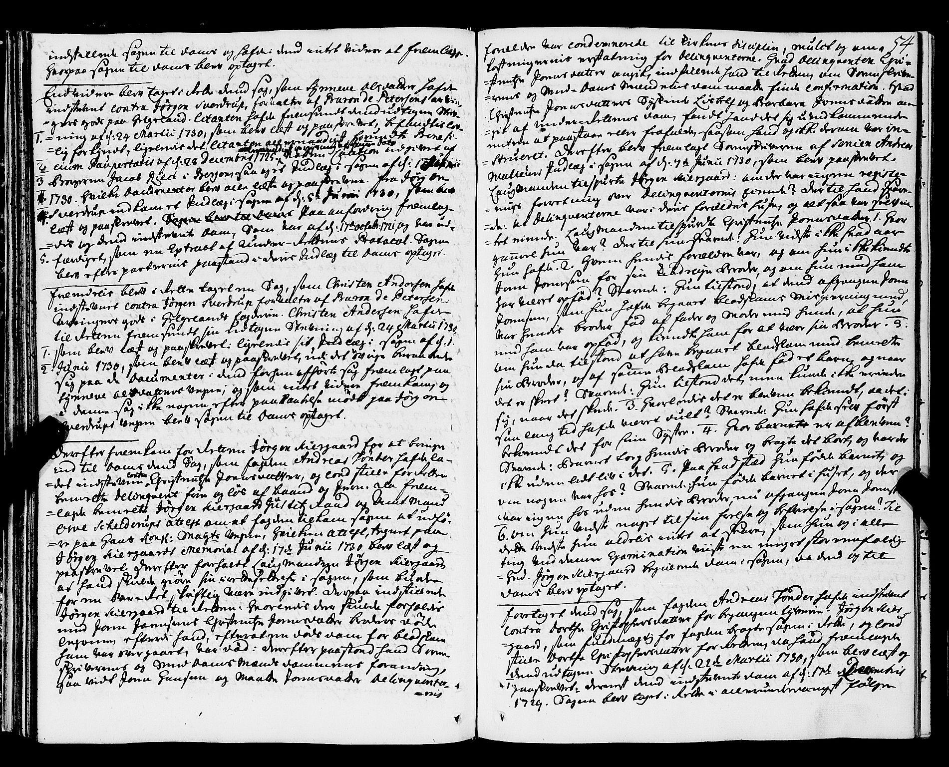 SAT, Nordland og Finmarks lagstol*, 1730-1740, s. 53b-54a